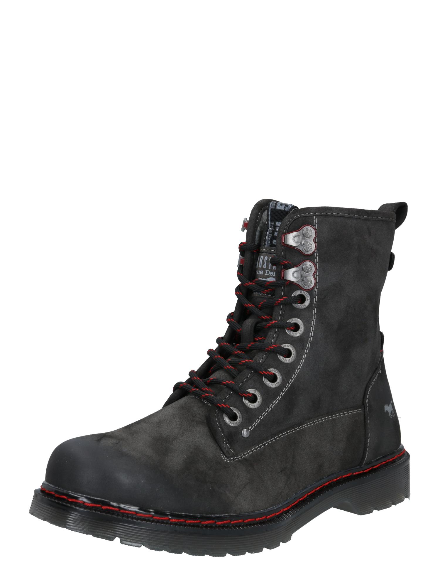 MUSTANG Šněrovací boty  tmavě šedá