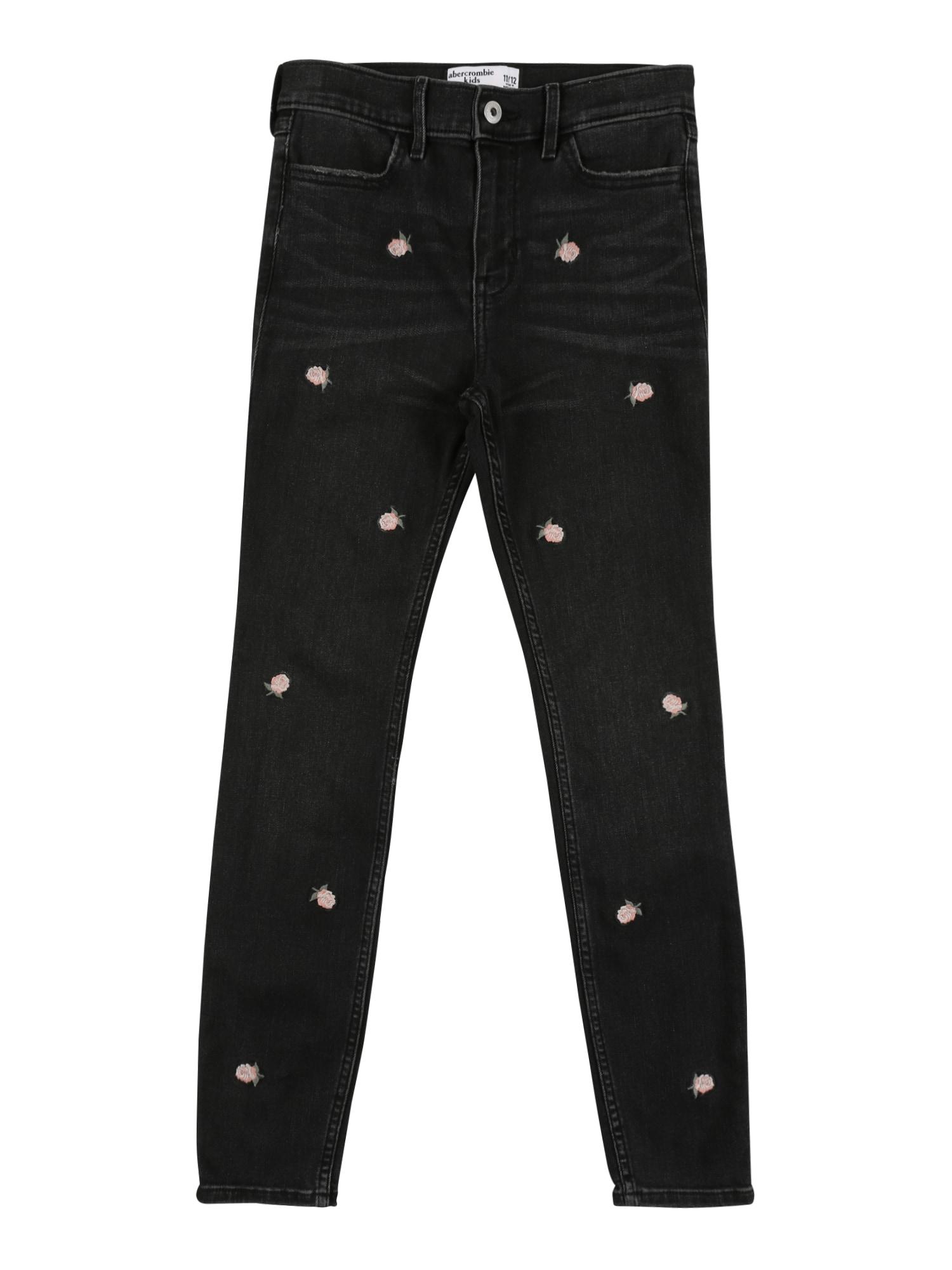 Abercrombie & Fitch Džinsai juoda / rožių spalva / pastelinė žalia