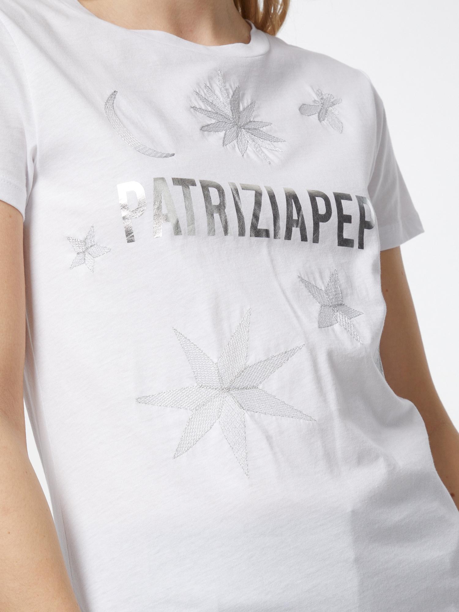 PATRIZIA PEPE Tričko 'MAGLIA'  biela / strieborná.