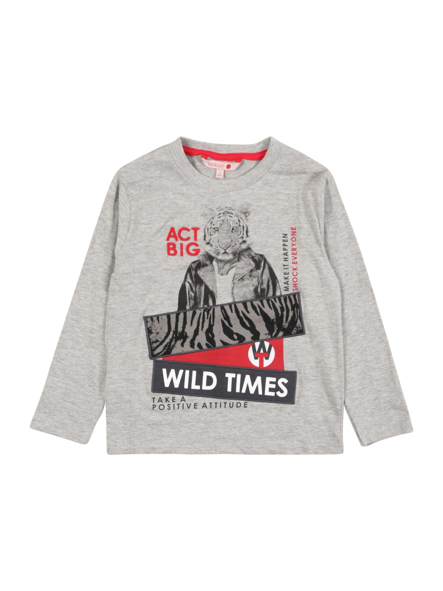 Boboli Marškinėliai pilka / juoda / raudona
