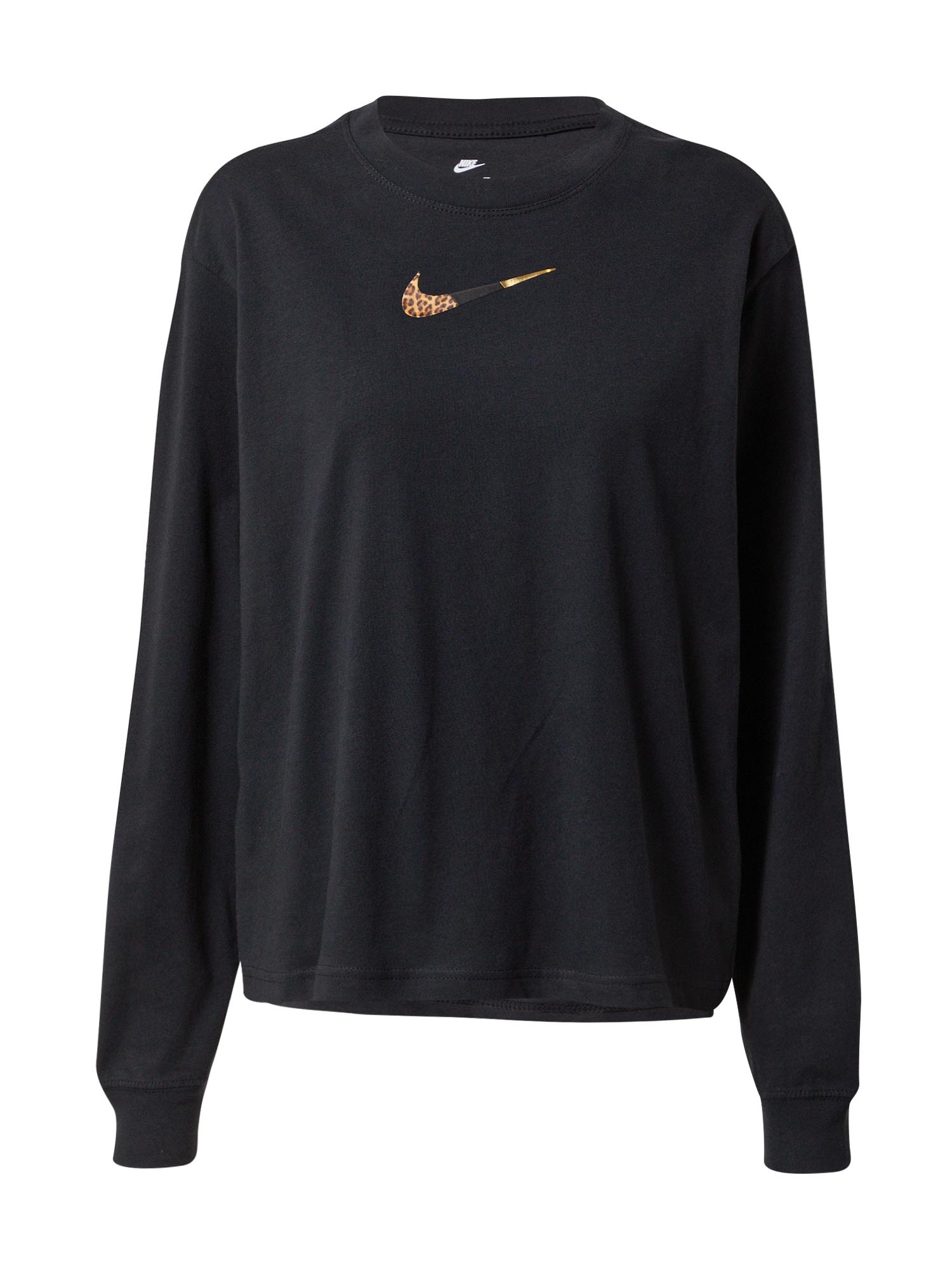 Nike Sportswear Tričko  čierna / zlatá / hnedá