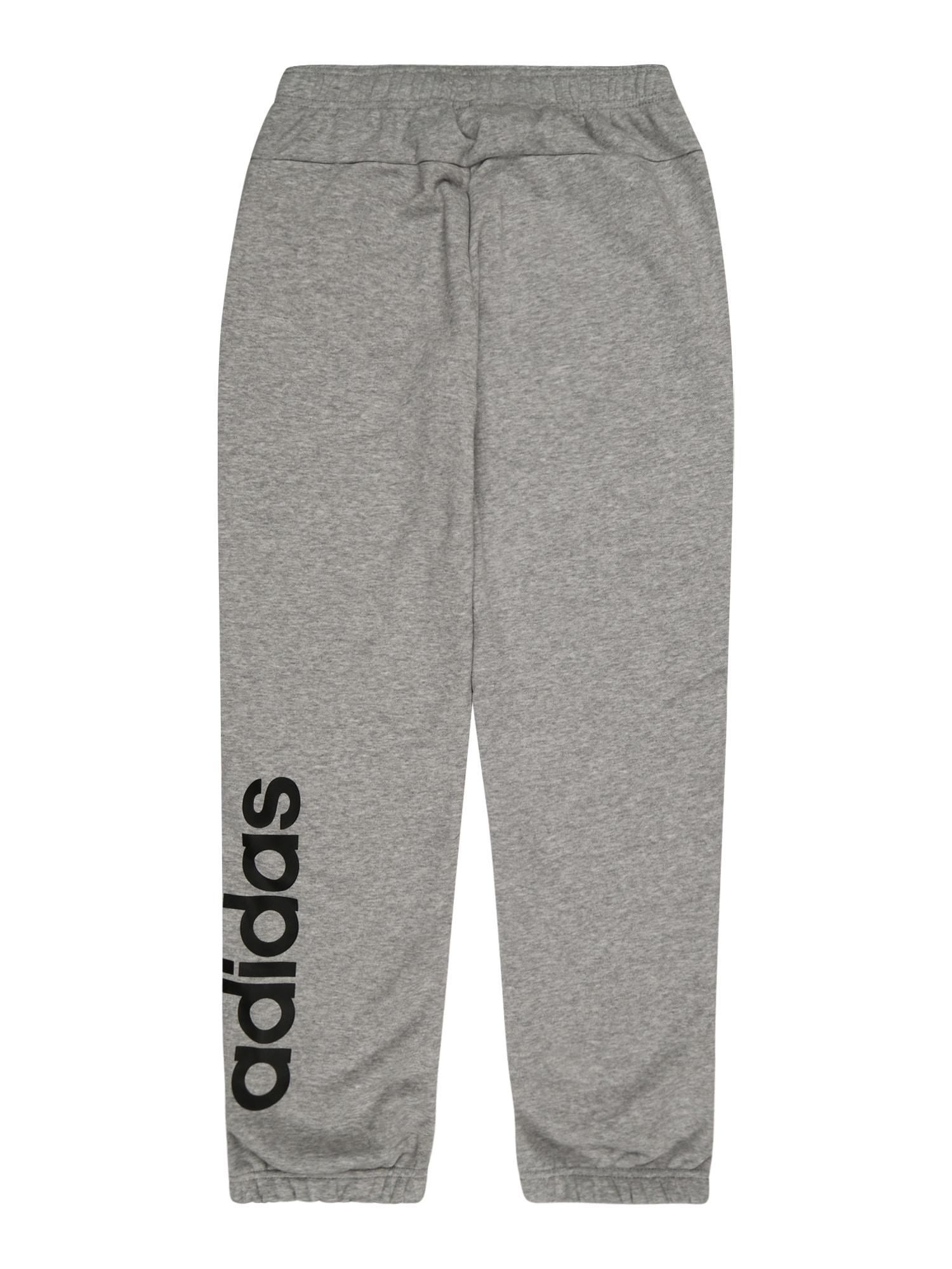 ADIDAS PERFORMANCE Sportinės kelnės 'Essentials Linear' margai pilka / juoda