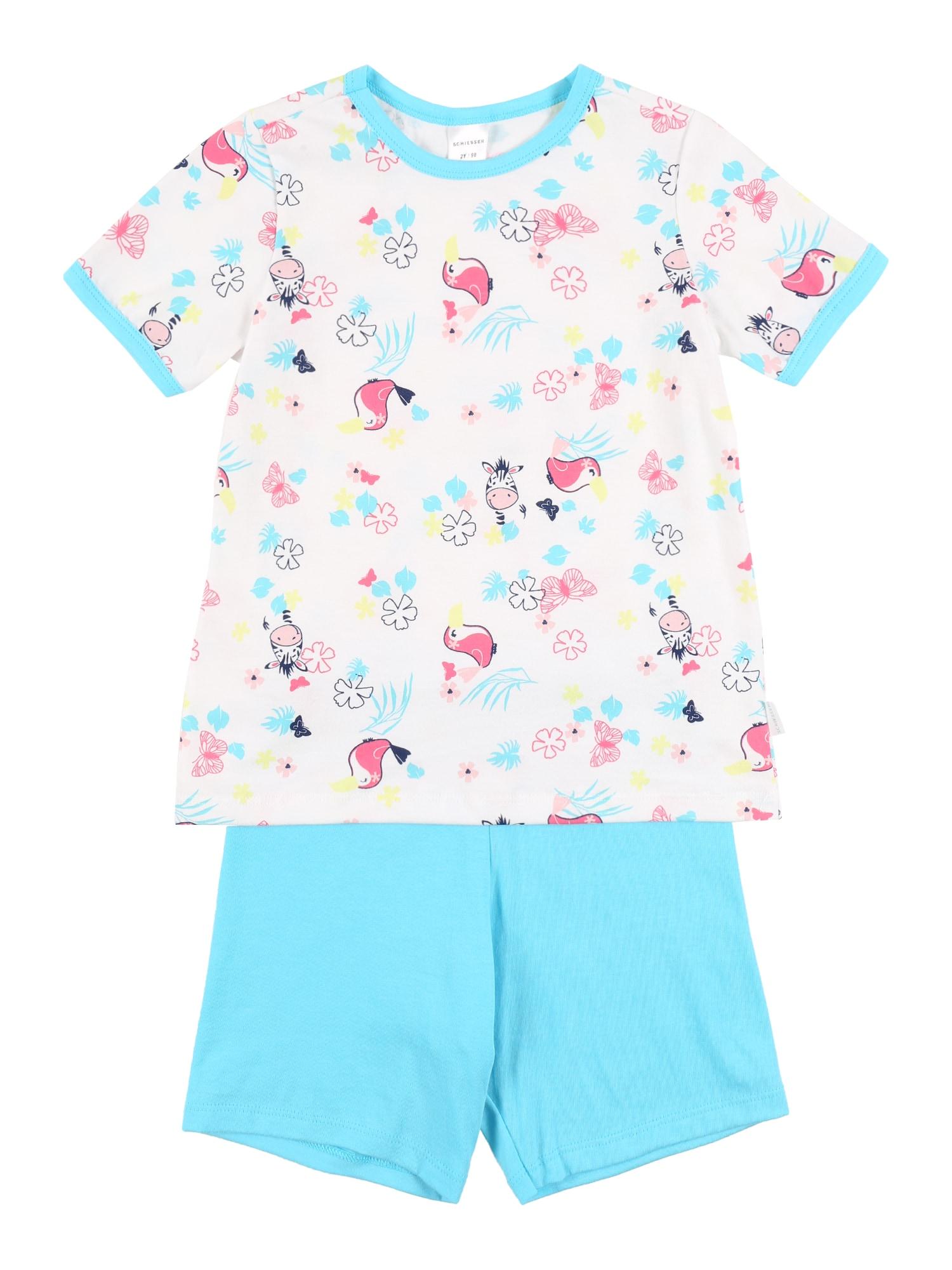 SCHIESSER Miego kostiumas balta / vandens spalva / rožinė / tamsiai mėlyna / geltona