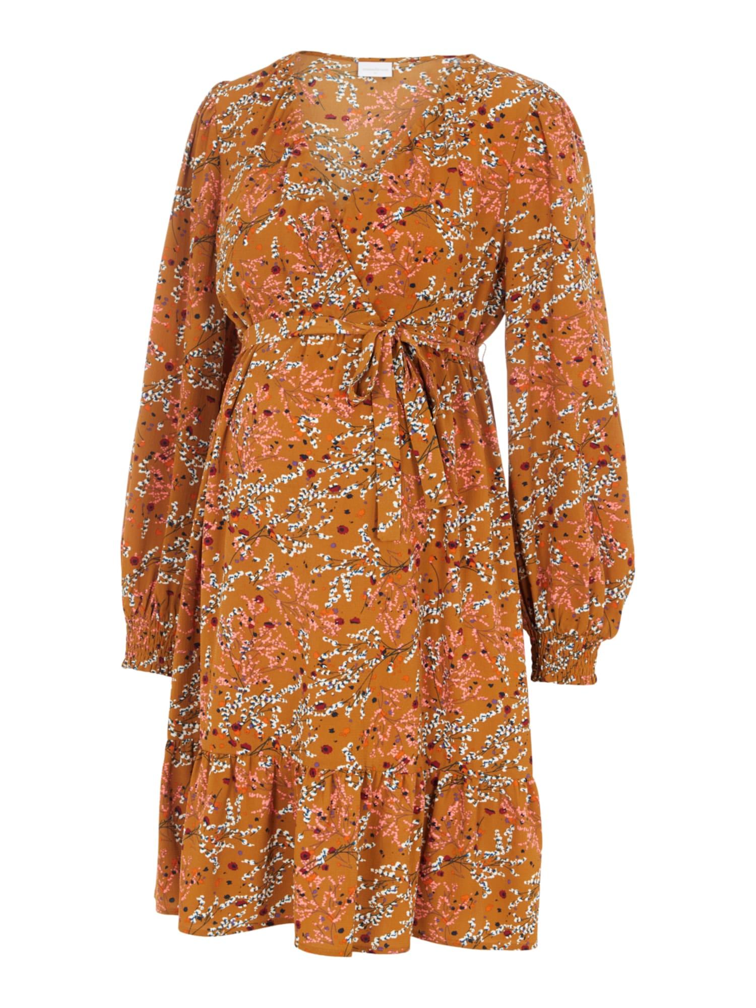 MAMALICIOUS Suknelė 'JADINE' oranžinė / koralų splava / balta / juoda