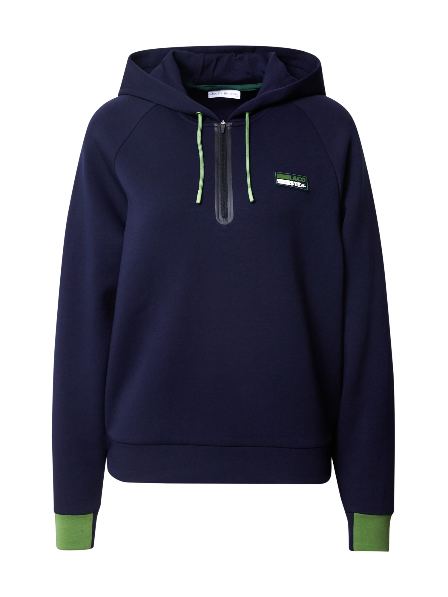 Lacoste Sport Sportinio tipo megztinis tamsiai mėlyna jūros spalva / šviesiai žalia