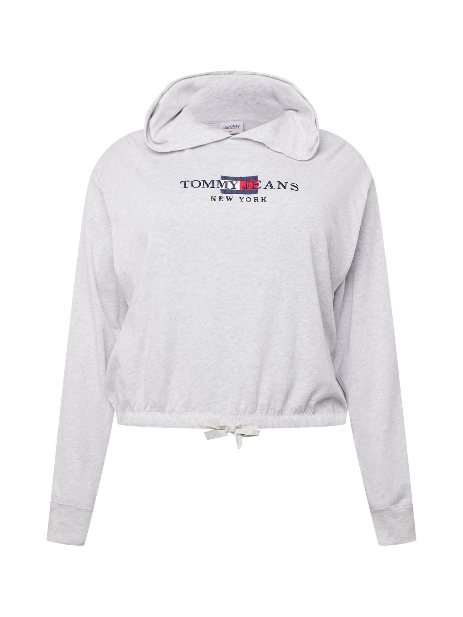 Tommy Jeans Curve Megztinis be užsegimo šviesiai pilka / tamsiai mėlyna / balta / raudona