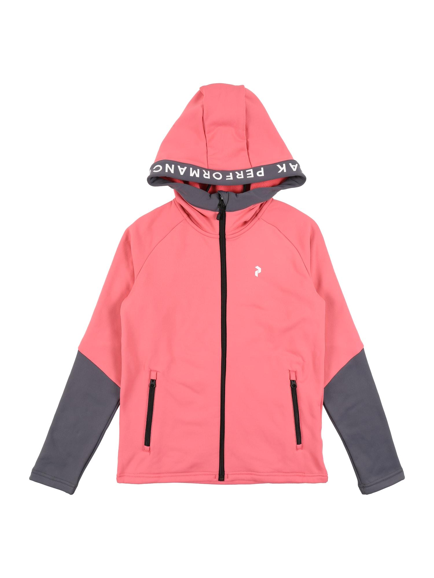 PEAK PERFORMANCE Sportinis džemperis 'Rider' rožinė / purvo spalva / balta