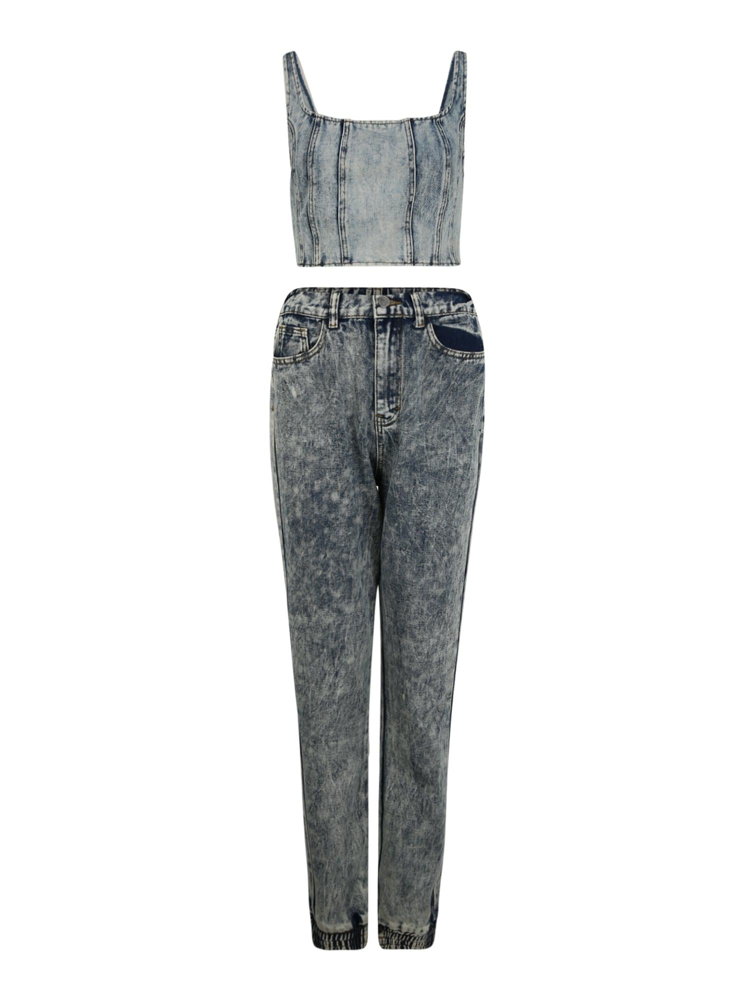 Missguided (Tall) Moteriškas kostiumėlis su kelnėmis šviesiai mėlyna