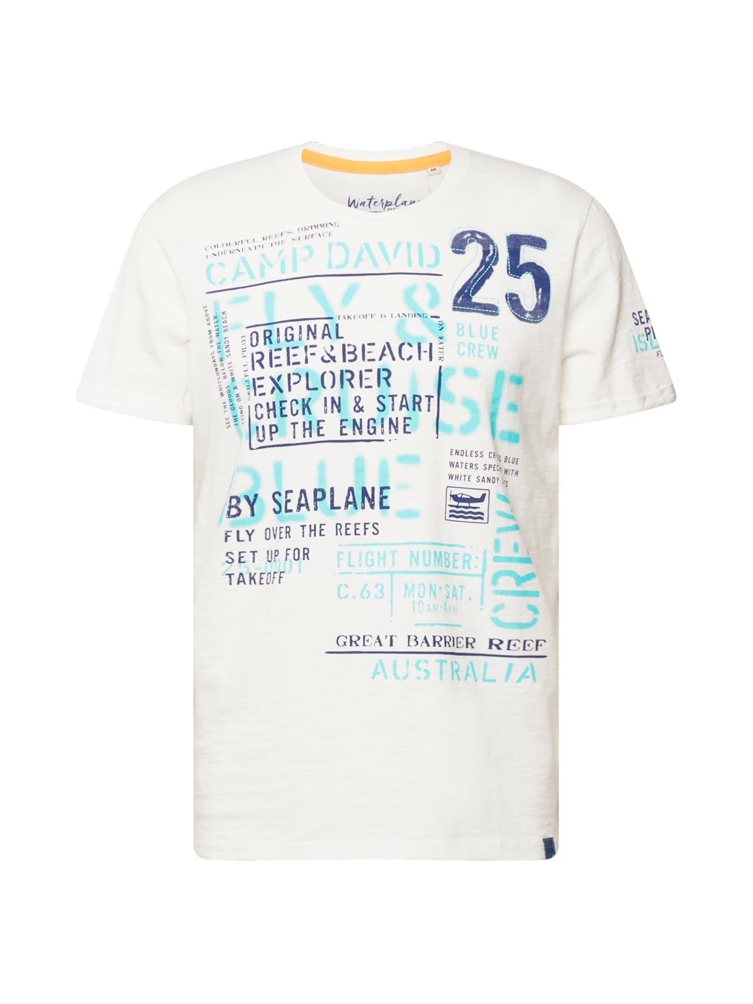 CAMP DAVID Marškinėliai dramblio kaulo / mėlyna