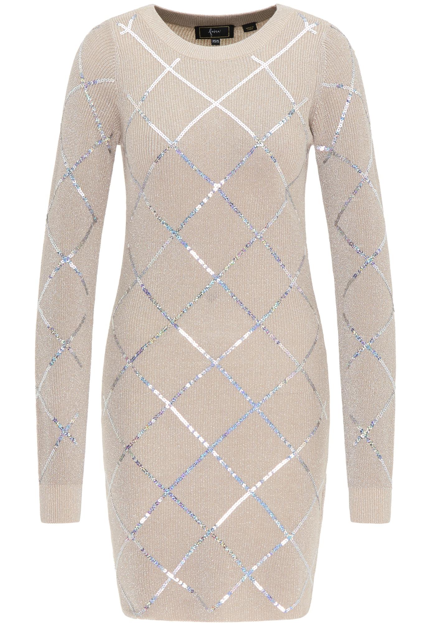 faina Megzta suknelė smėlio / sidabrinė
