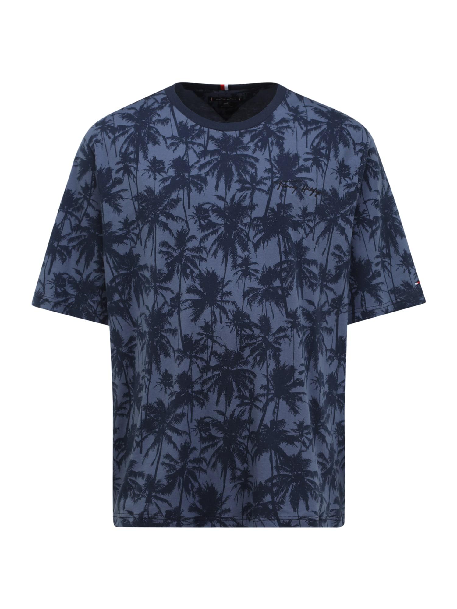 Tommy Hilfiger Big & Tall Marškinėliai melsvai pilka / tamsiai mėlyna jūros spalva / balta / šviesiai raudona