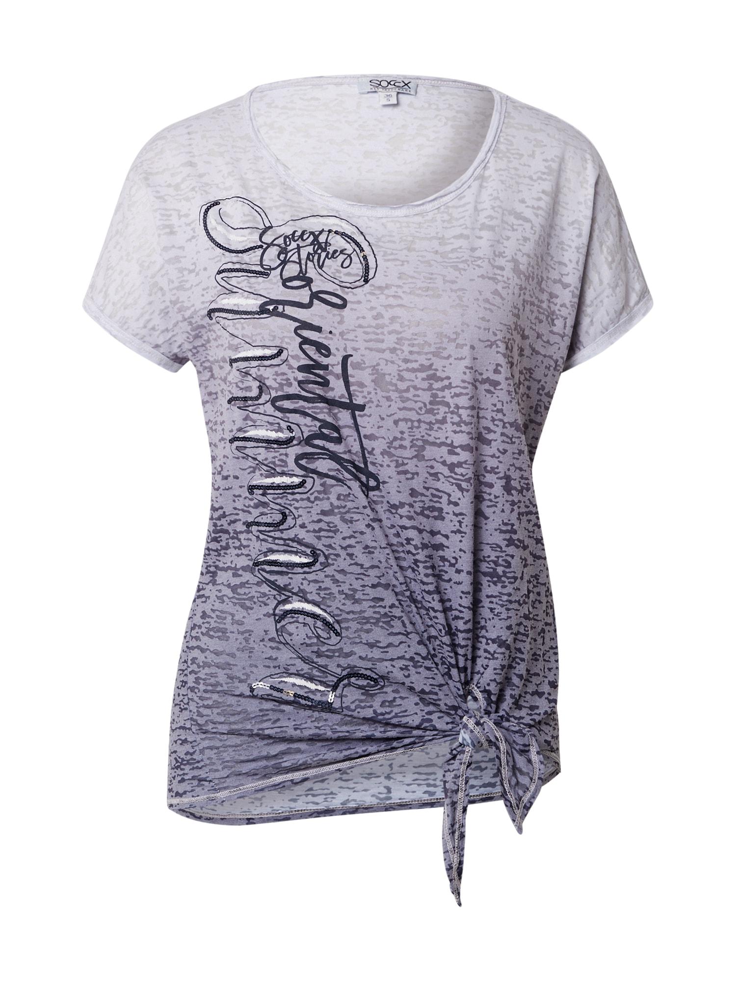 Soccx Marškinėliai melsvai pilka / violetinė-mėlyna / vilnos balta / sidabrinė