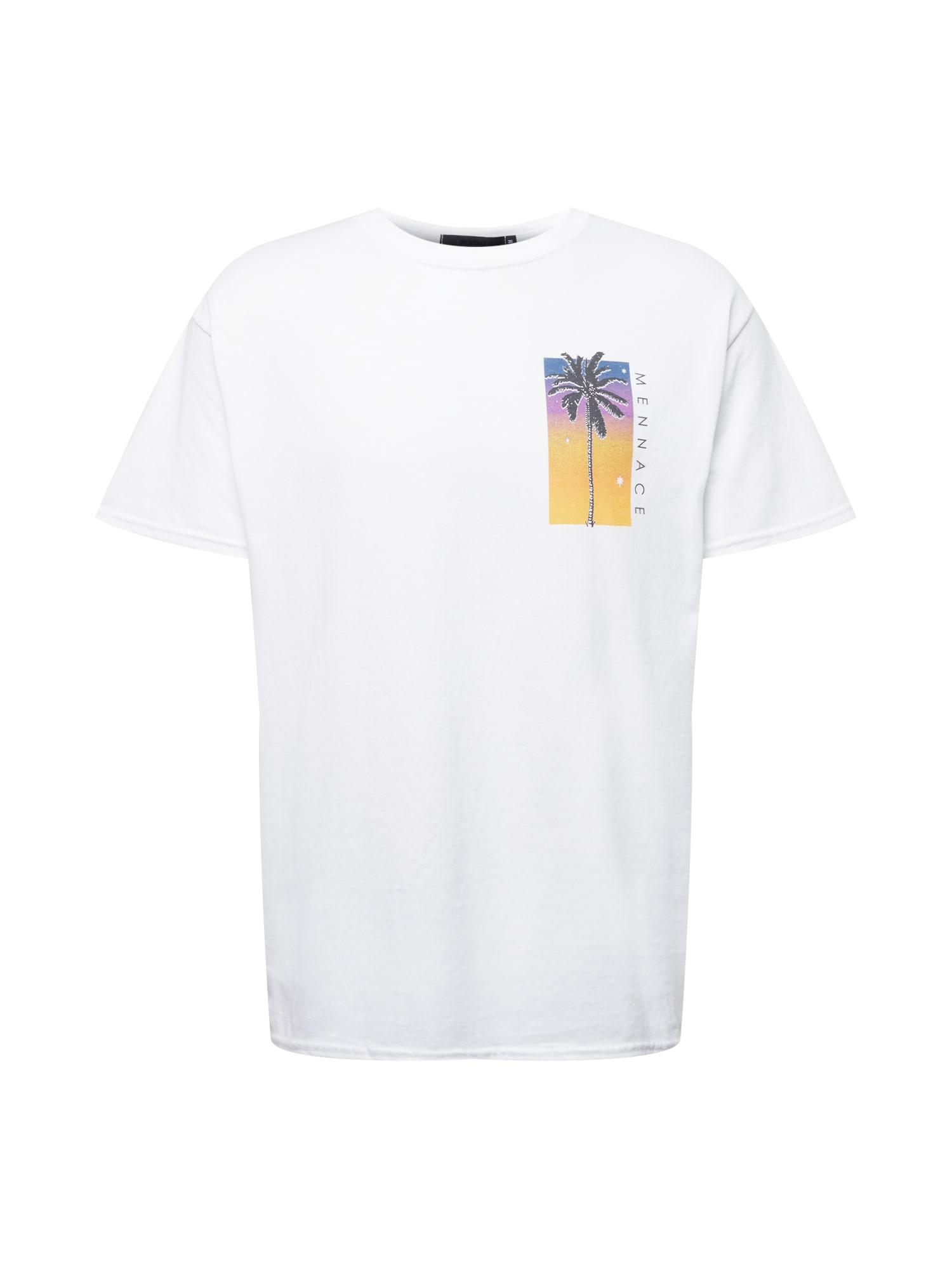 Mennace Marškinėliai balta / juoda / aukso geltonumo spalva / neoninė violetinė / dangaus žydra