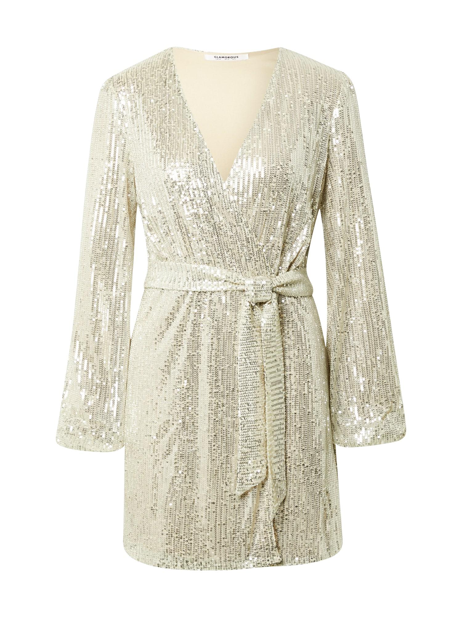 GLAMOROUS Kokteilinė suknelė sidabrinė / kūno spalva