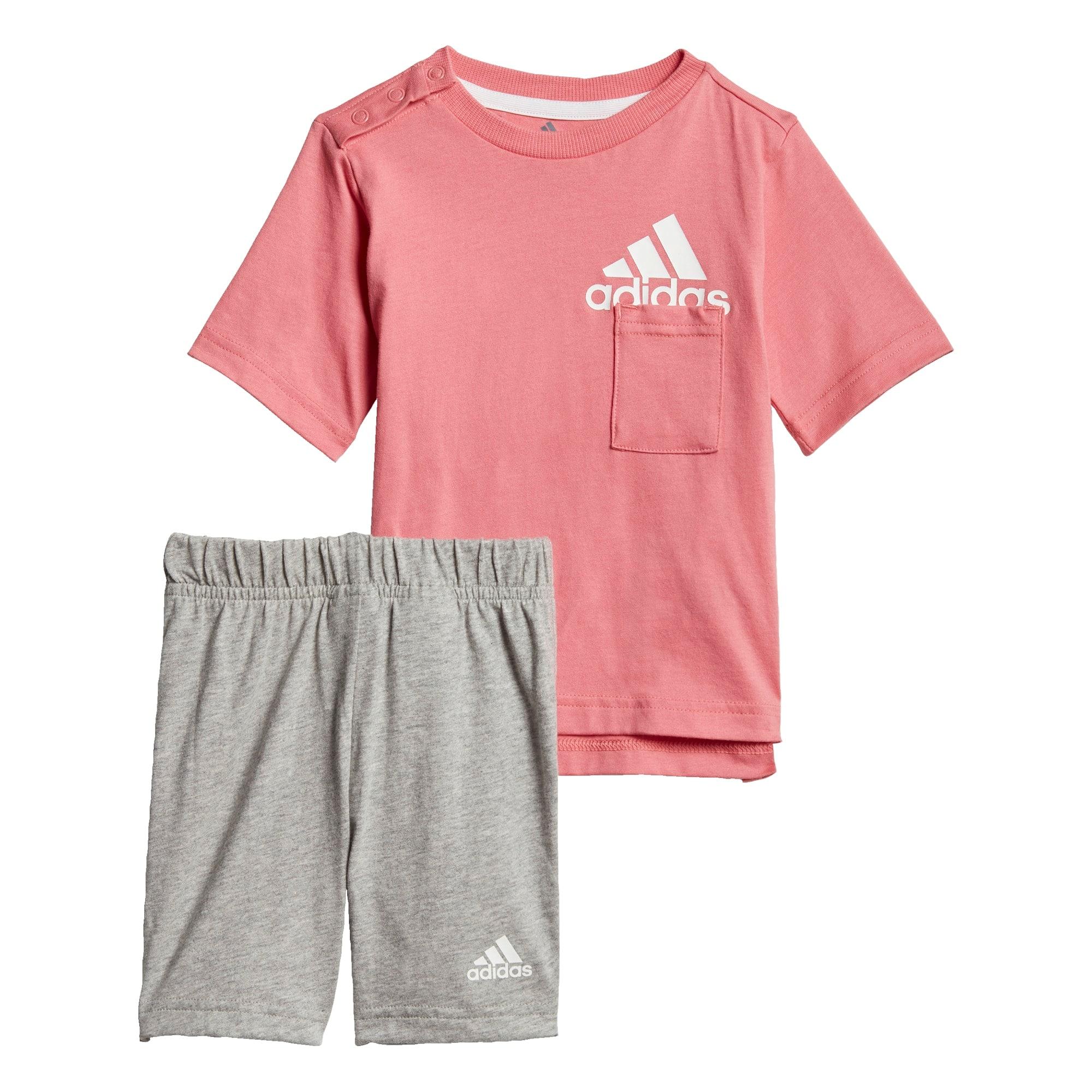 ADIDAS PERFORMANCE Treniruočių kostiumas ryškiai rožinė spalva / margai pilka / balta