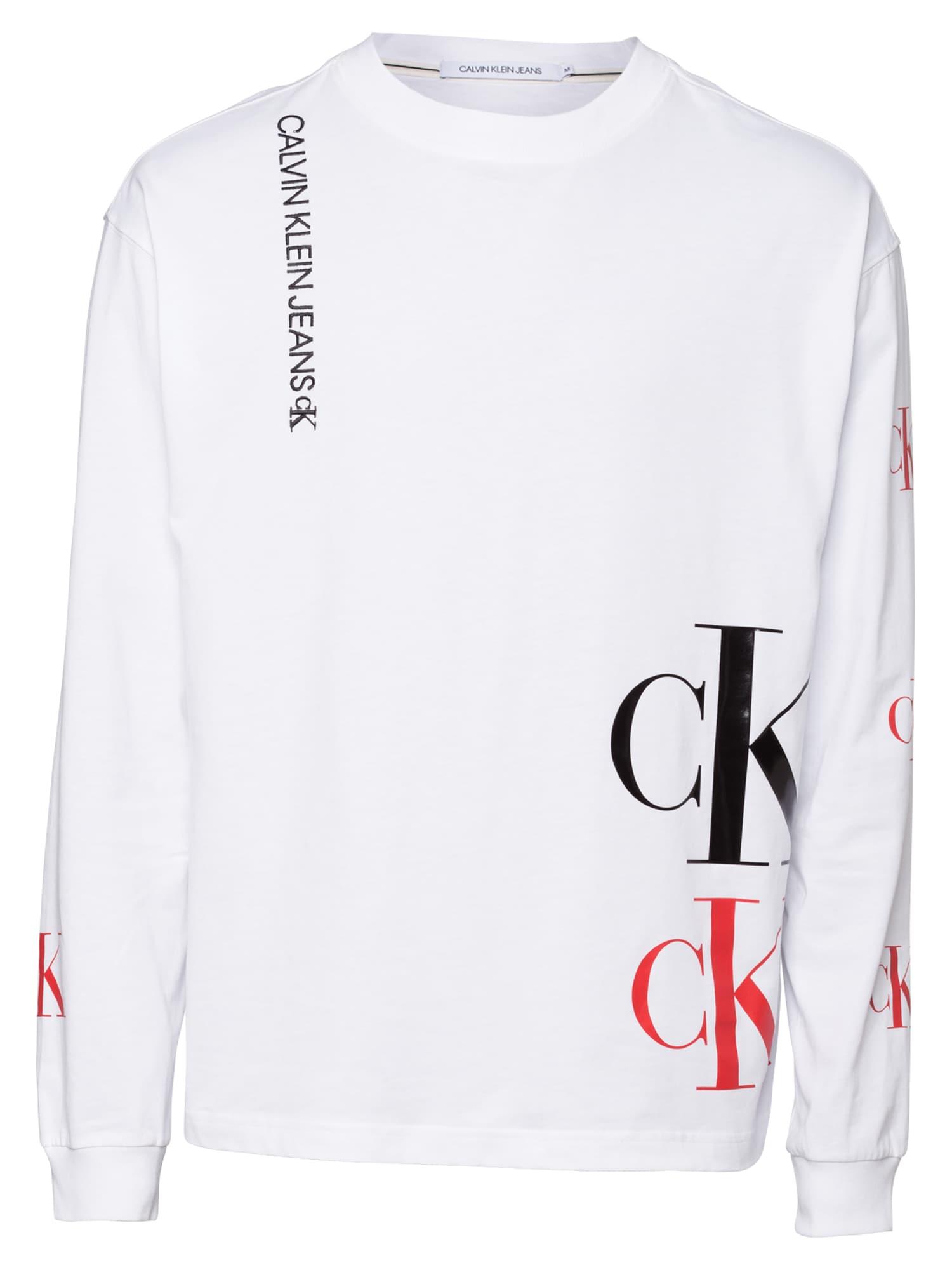 Calvin Klein Jeans Marškinėliai balta / juoda / raudona