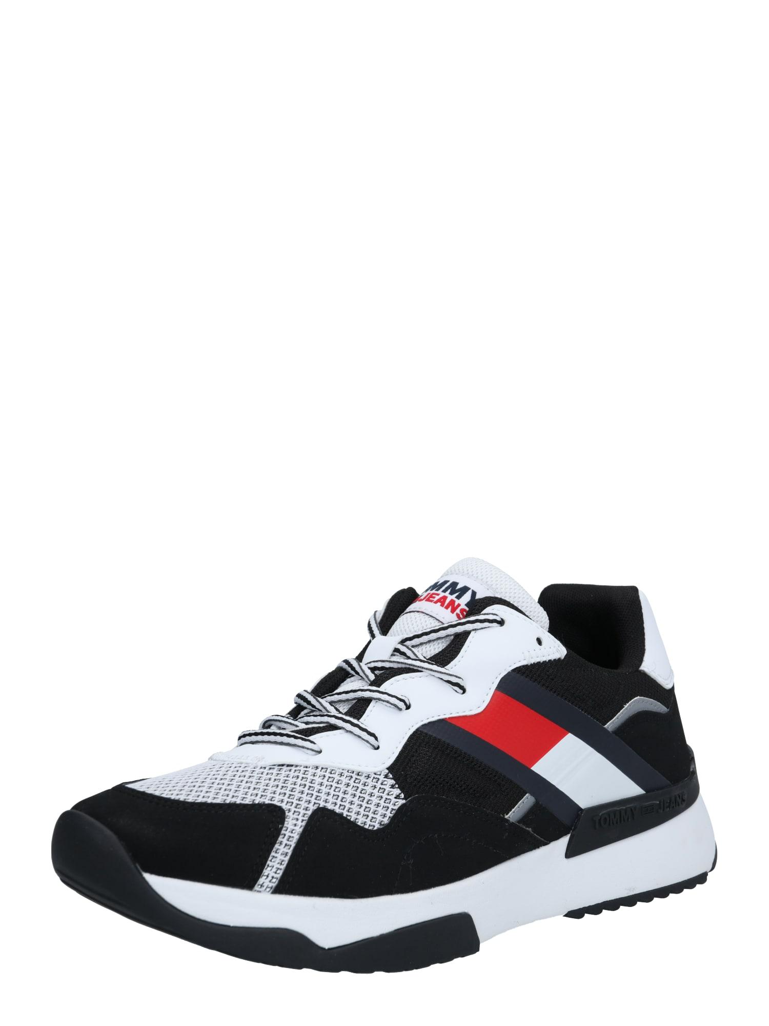 Tommy Jeans Tenisky  černá / bílá / tmavě modrá / červený melír