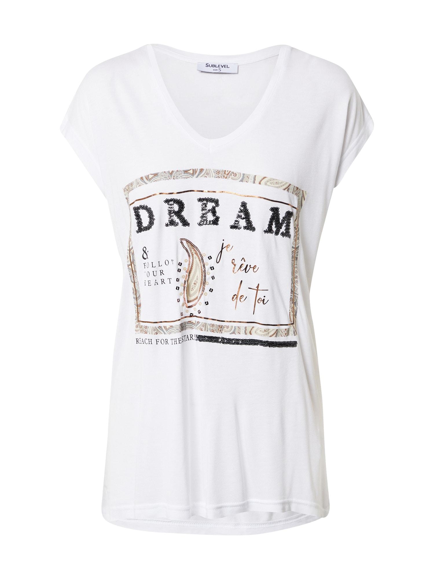 Sublevel Marškinėliai balta / smėlio spalva / juoda / bronzinė / ruda