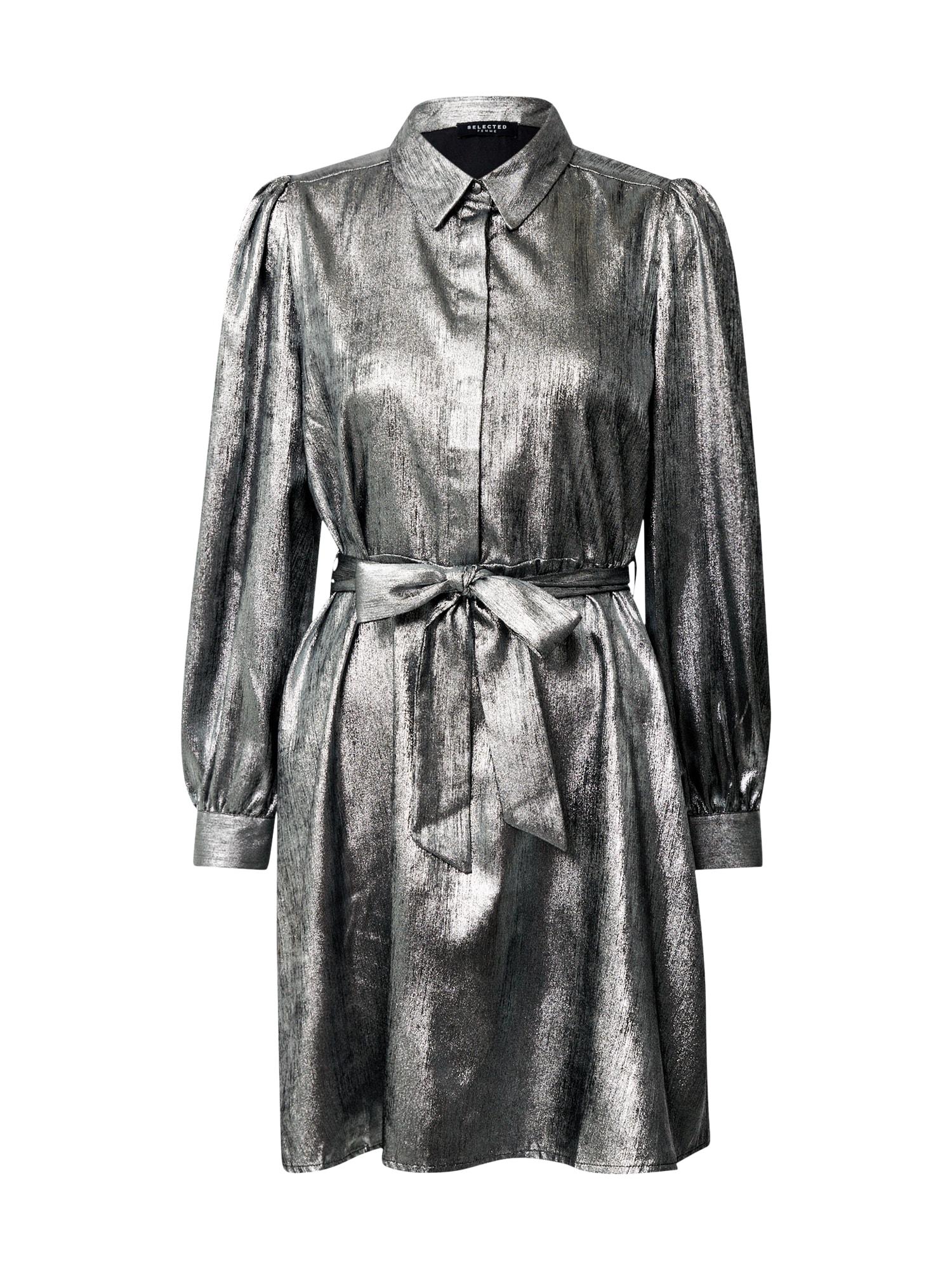 SELECTED FEMME Košilové šaty 'Aurelia'  stříbrně šedá