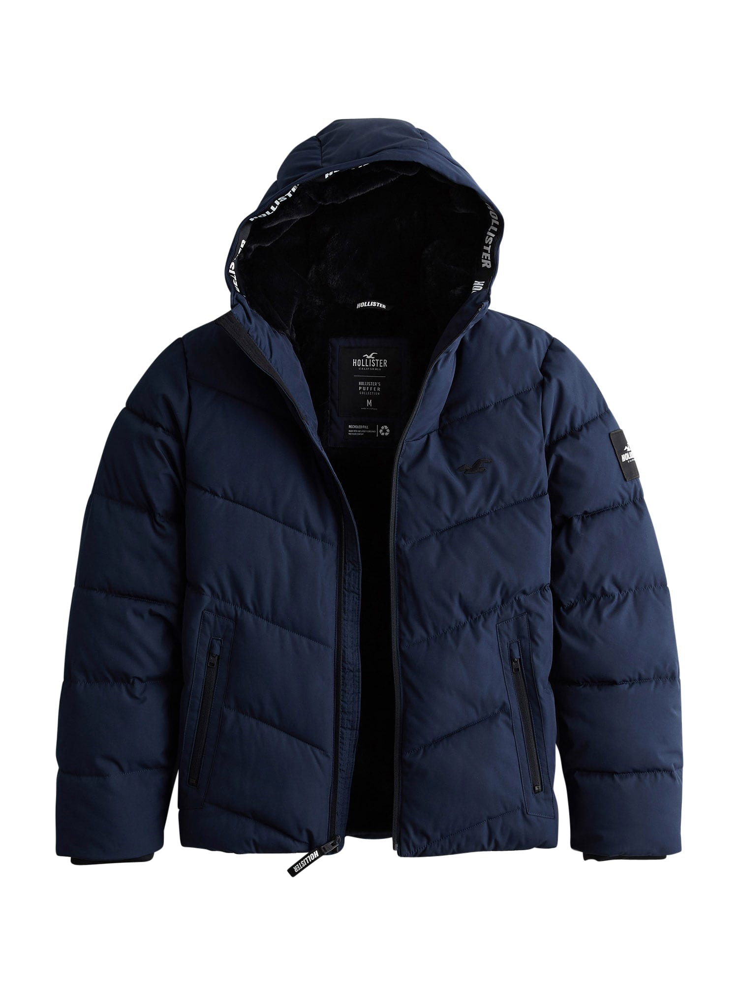 HOLLISTER Zimní bunda 'Webex'  námořnická modř / černá / bílá