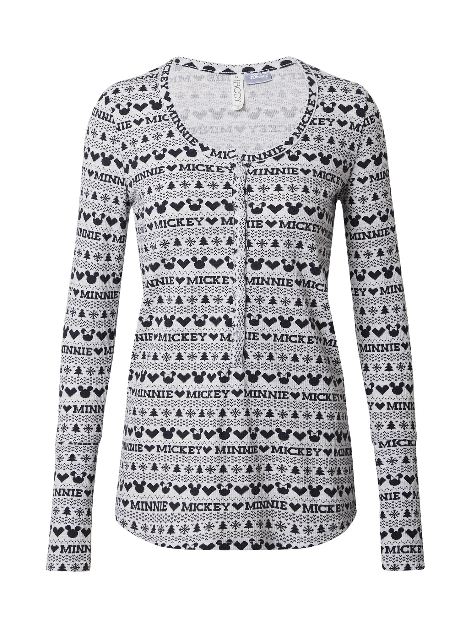 Cotton On Pižaminiai marškinėliai balta / juoda