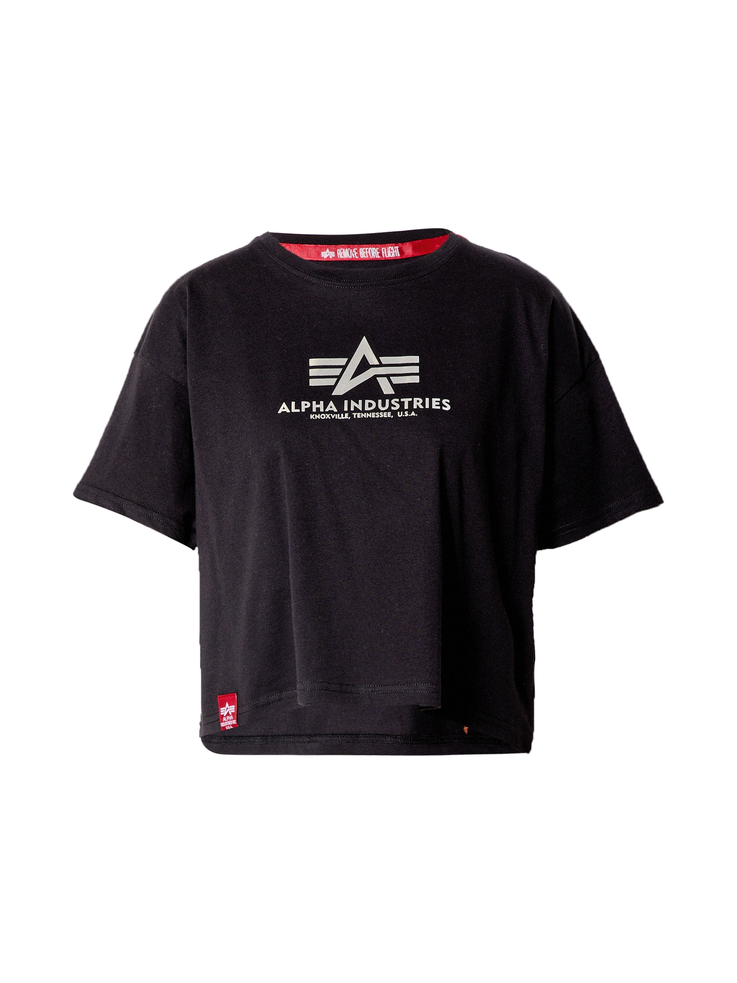 ALPHA INDUSTRIES Marškinėliai pilka / juoda