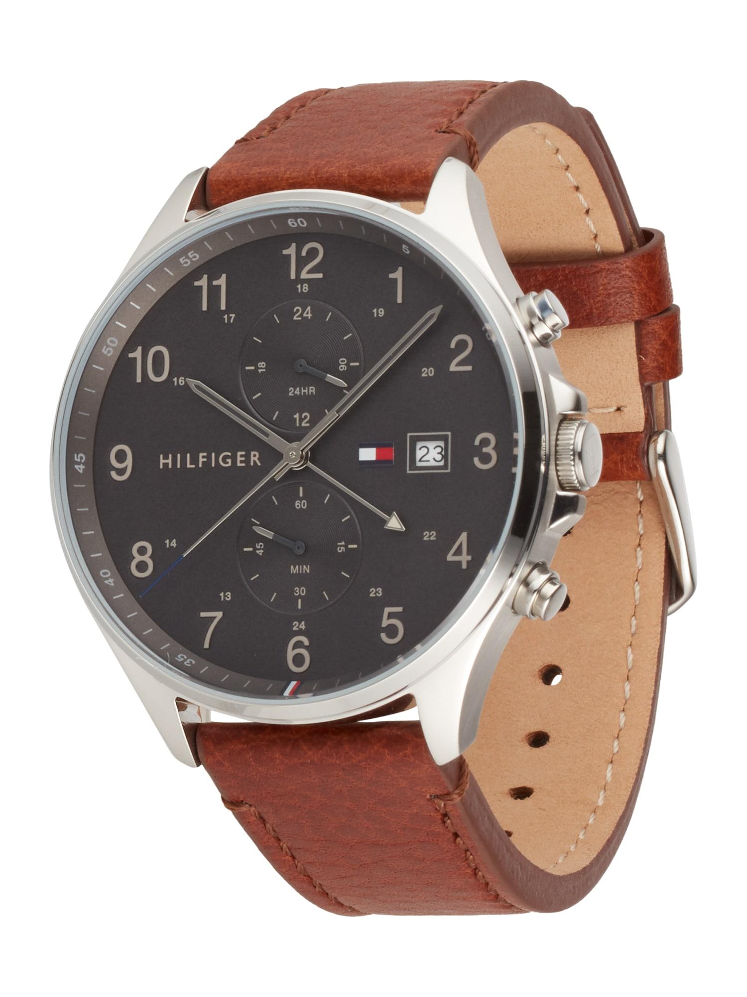 TOMMY HILFIGER Analoginis (įprasto dizaino) laikrodis ruda / juoda / sidabrinė