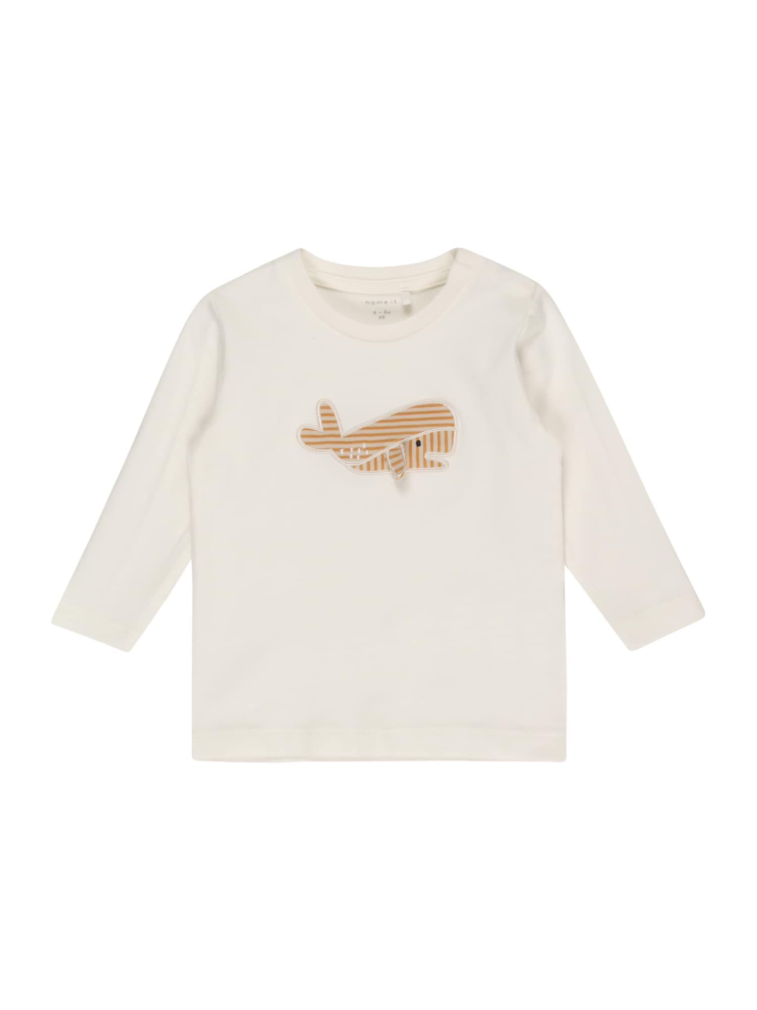 NAME IT Marškinėliai 'FIPOL' balta / zomšos spalva