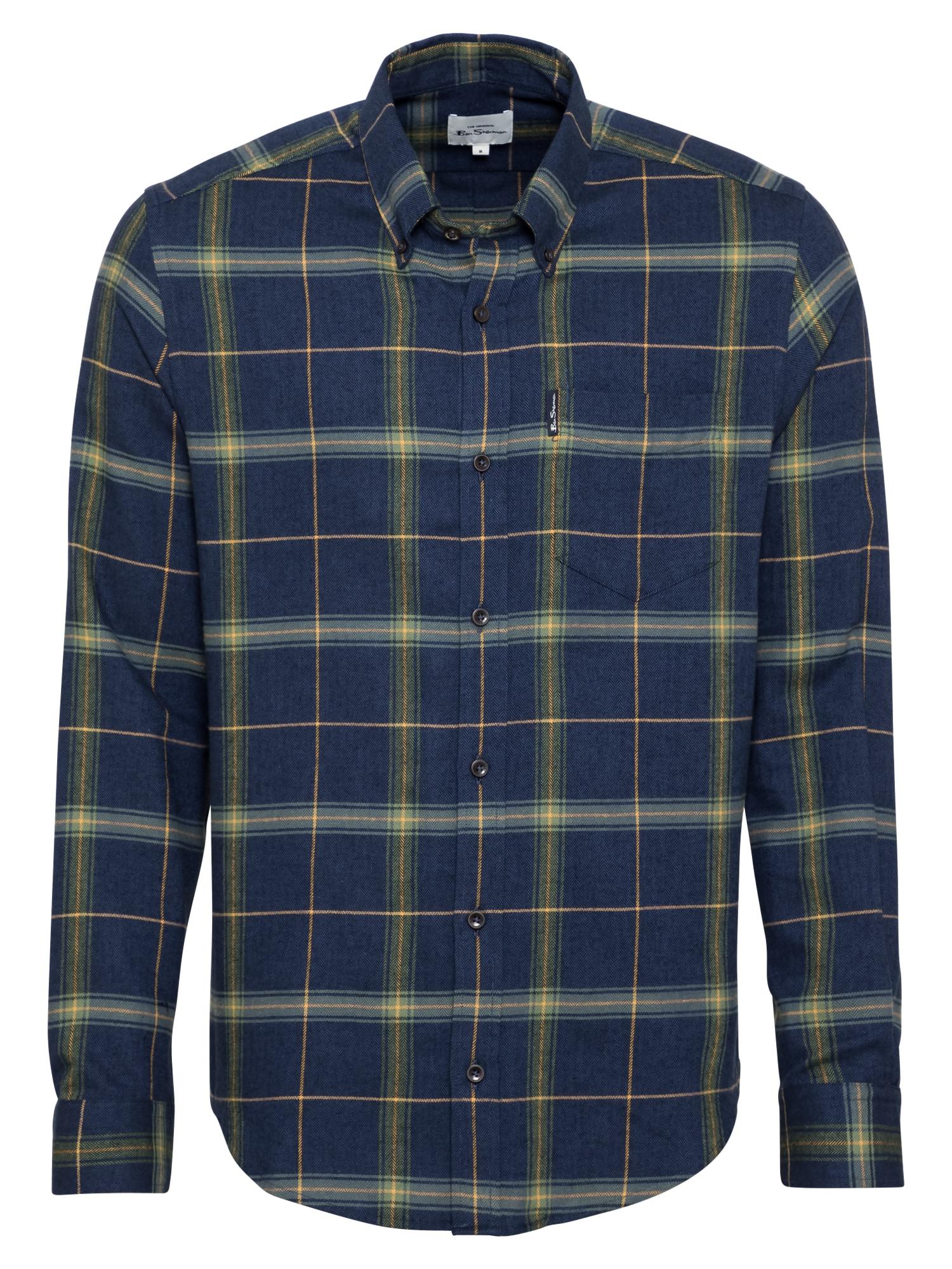 Ben Sherman Marškiniai žalia / safyro / gelsvai pilka spalva