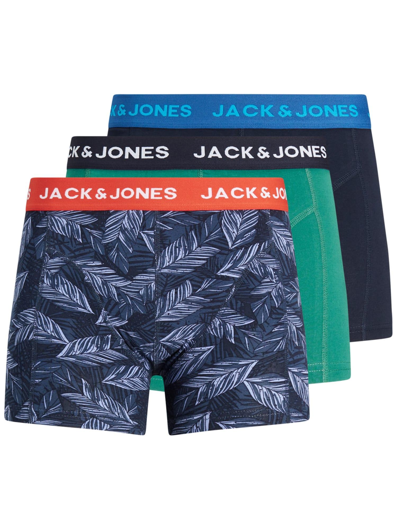 JACK & JONES Boxer trumpikės tamsiai mėlyna / nefrito spalva / raudona / balta / melsvai pilka