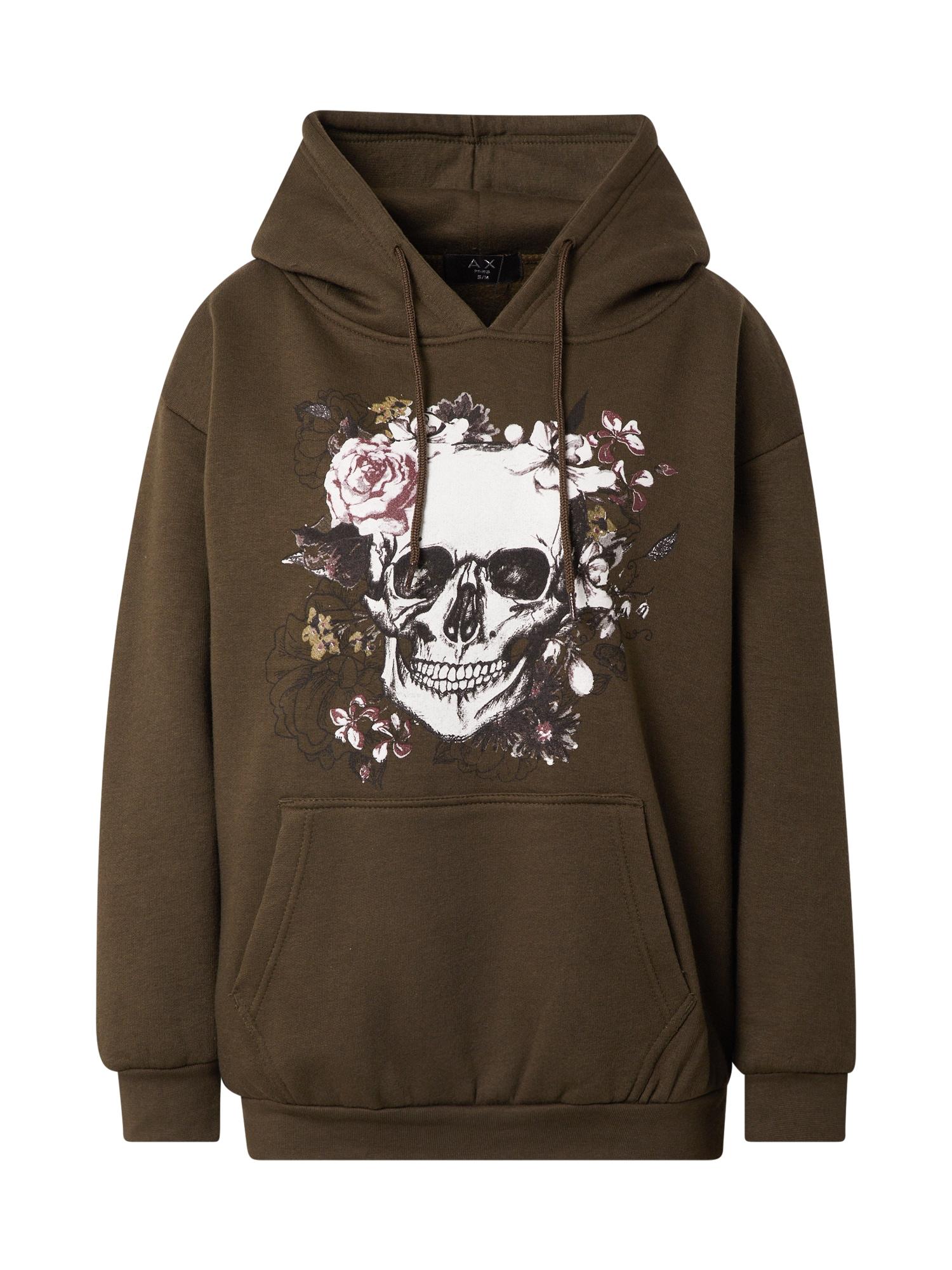 AX Paris Megztinis be užsegimo alyvuogių spalva / balta / nendrių spalva / rožinė