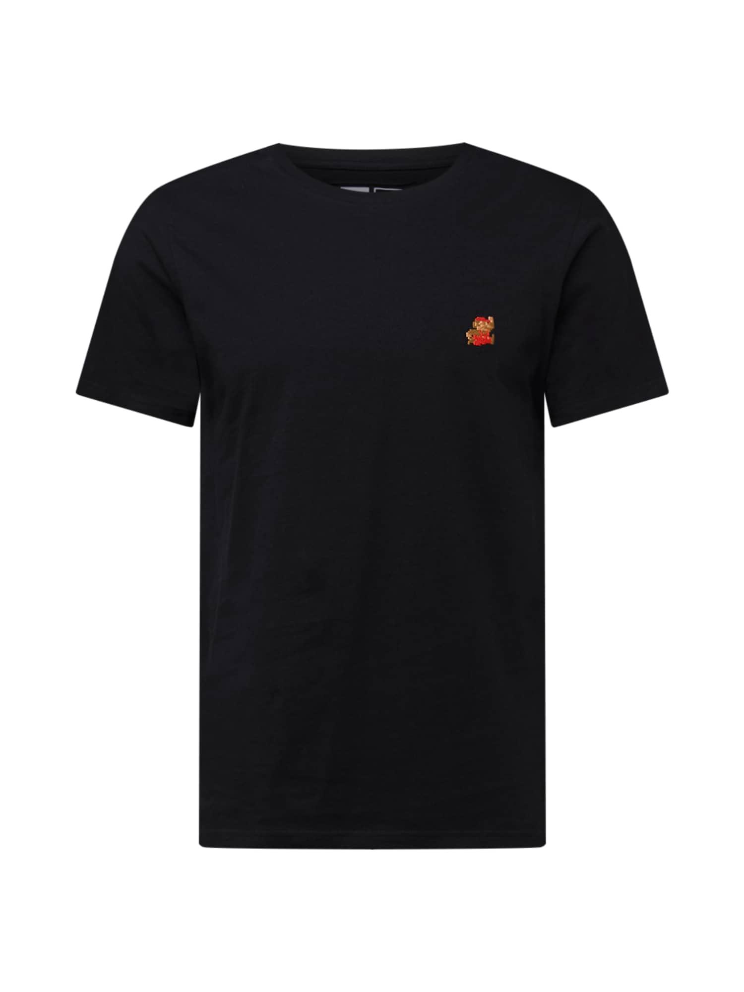 DEDICATED. Marškinėliai 'Stockholm' juoda / šviesiai ruda / oranžinė-raudona