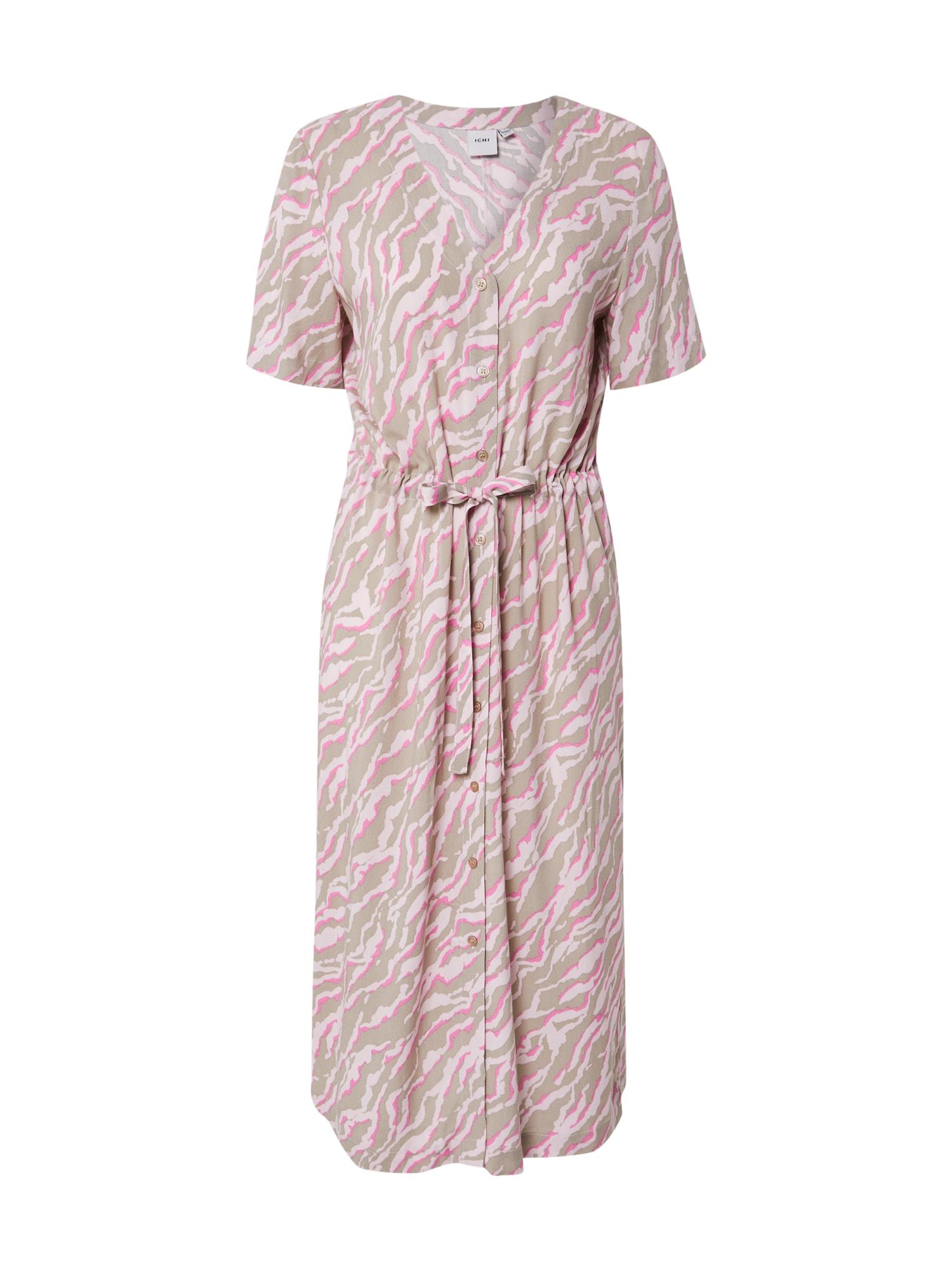 ICHI Šaty  šedá / béžová / pink
