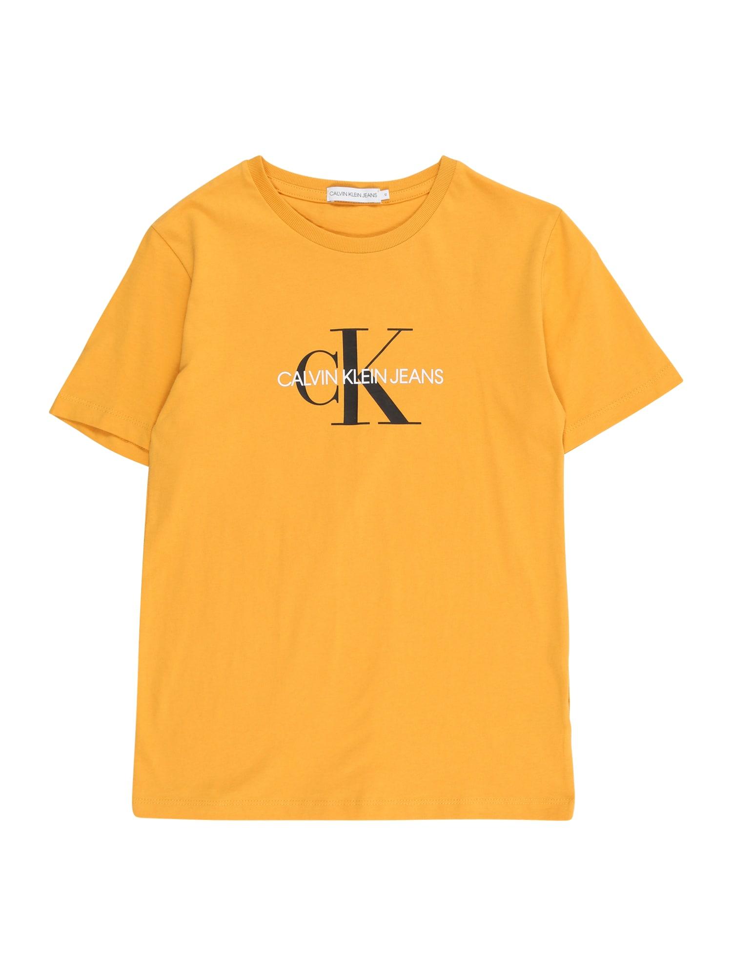 Calvin Klein Jeans Tričko  žlutá / bílá / černá