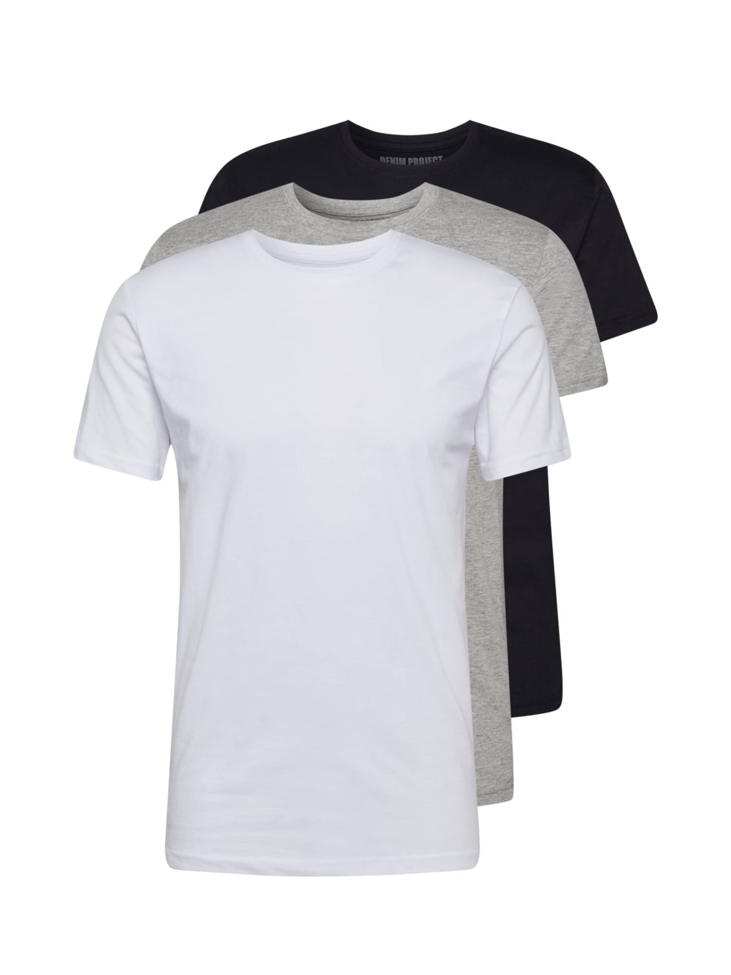Denim Project Marškinėliai balta / margai pilka / juoda