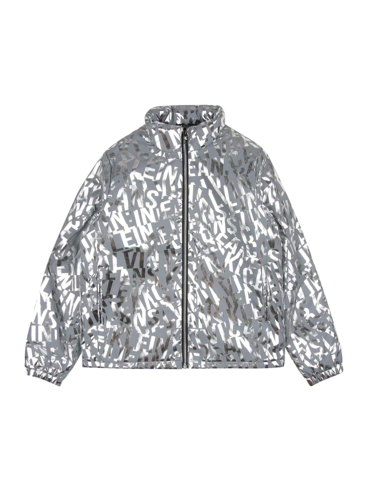 Calvin Klein Jeans Demisezoninė striukė sidabrinė / šviesiai pilka