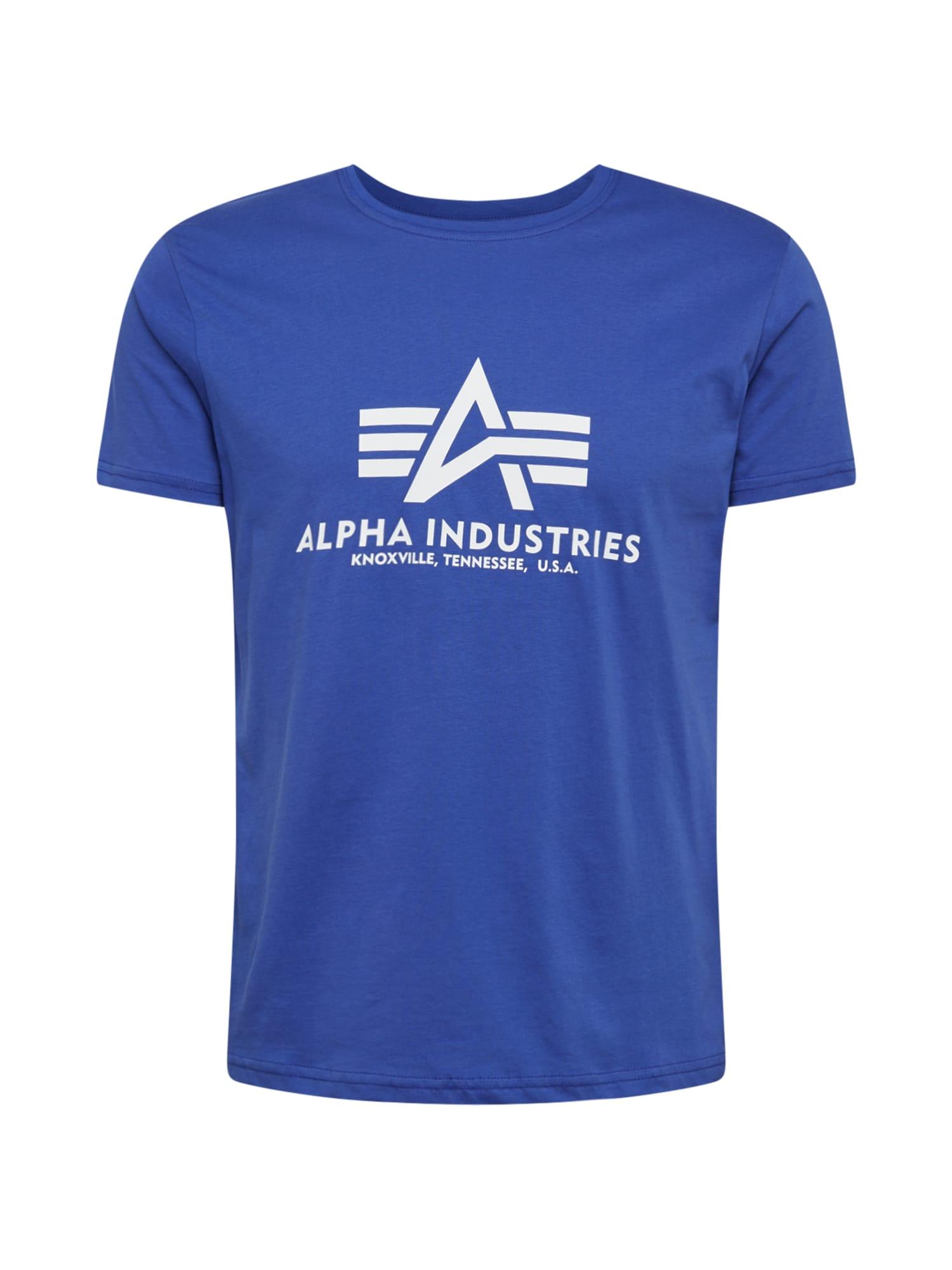 ALPHA INDUSTRIES Marškinėliai balta / mėlyna
