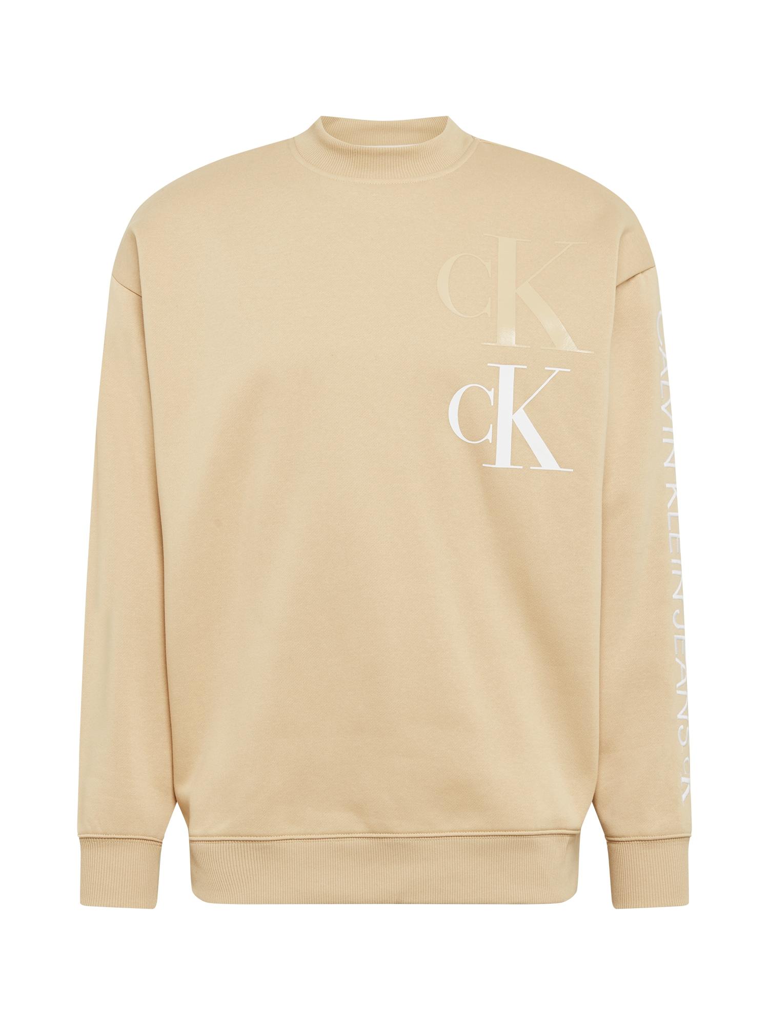 Calvin Klein Jeans Megztinis be užsegimo smėlio / balta