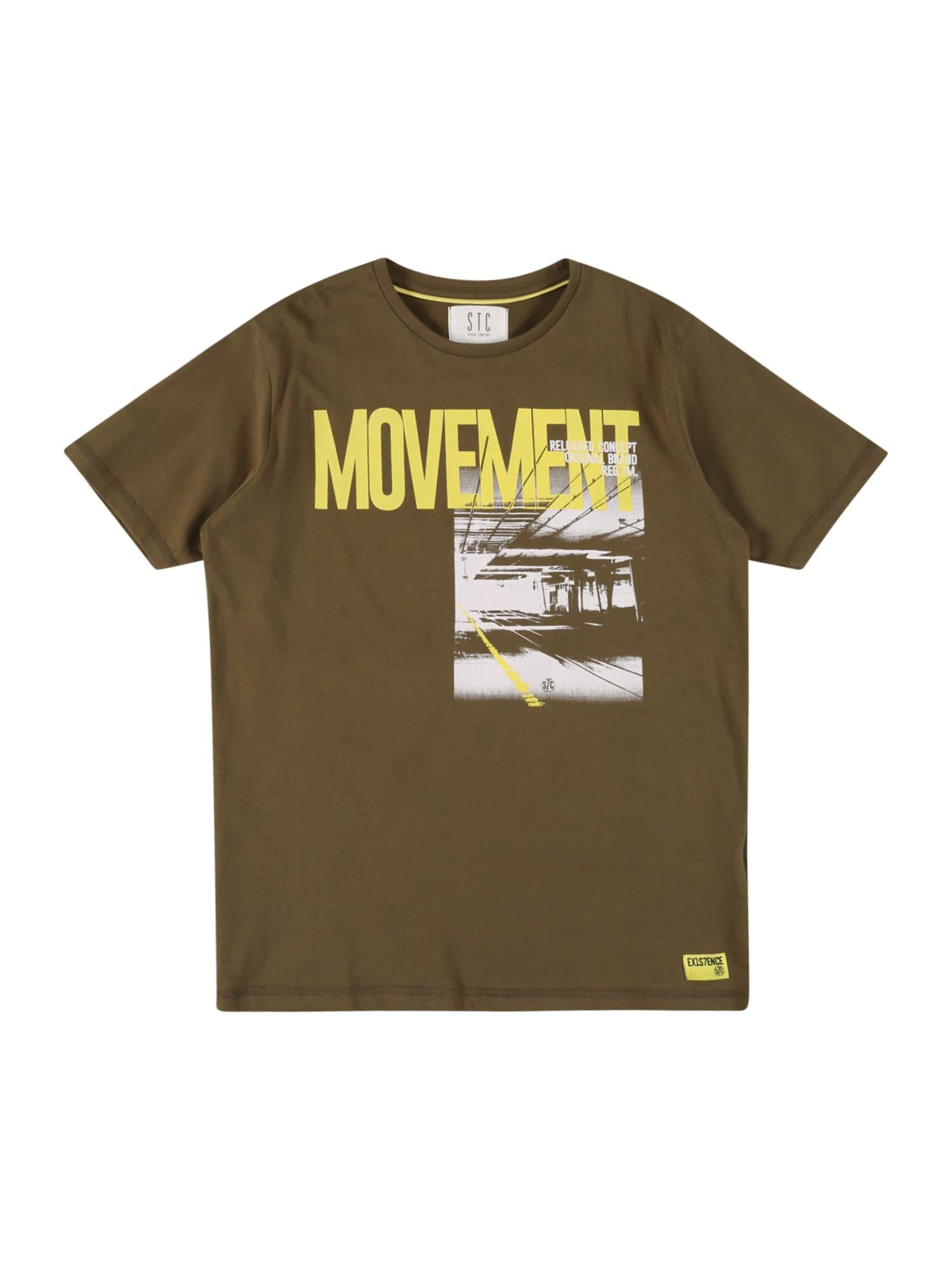 STACCATO Marškinėliai alyvuogių spalva / geltona / balta