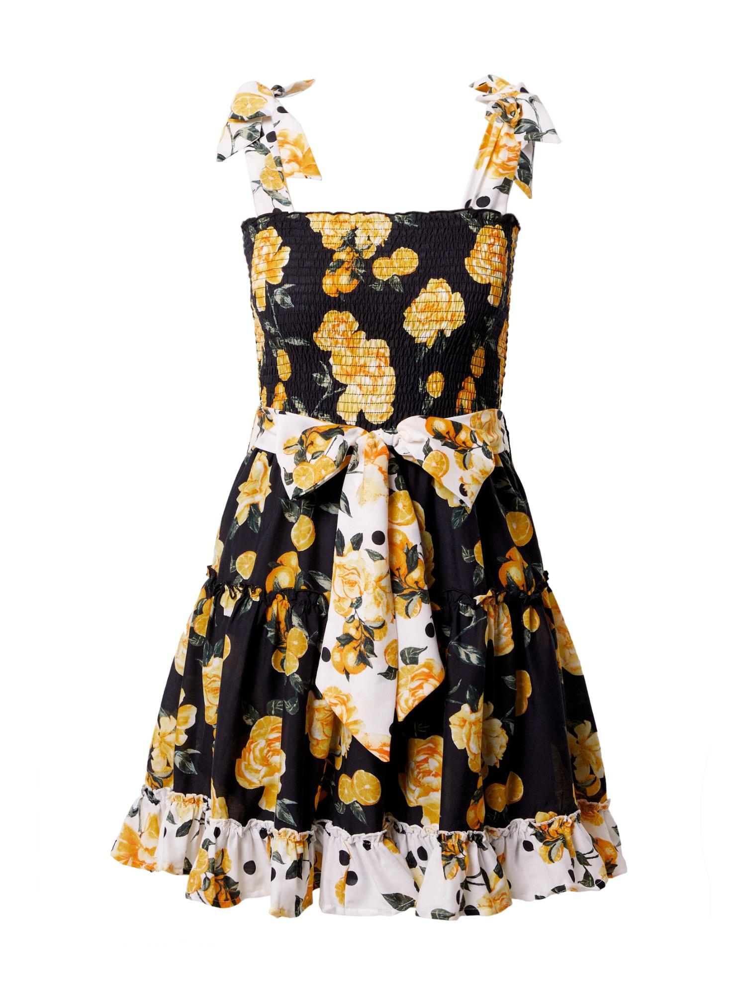 River Island Paplūdimio suknelė juoda / balta / geltona