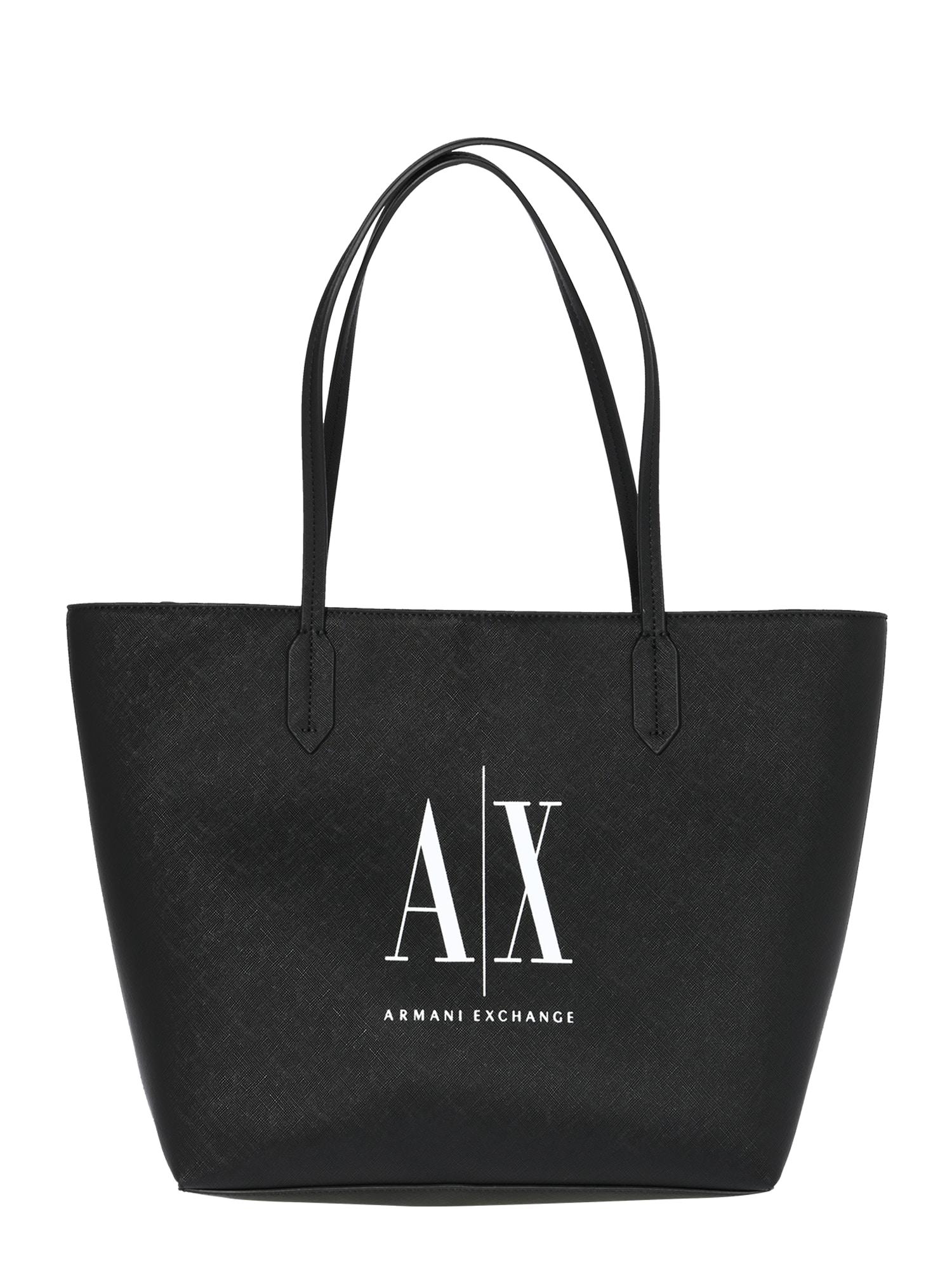 ARMANI EXCHANGE Pirkinių krepšys balta / juoda