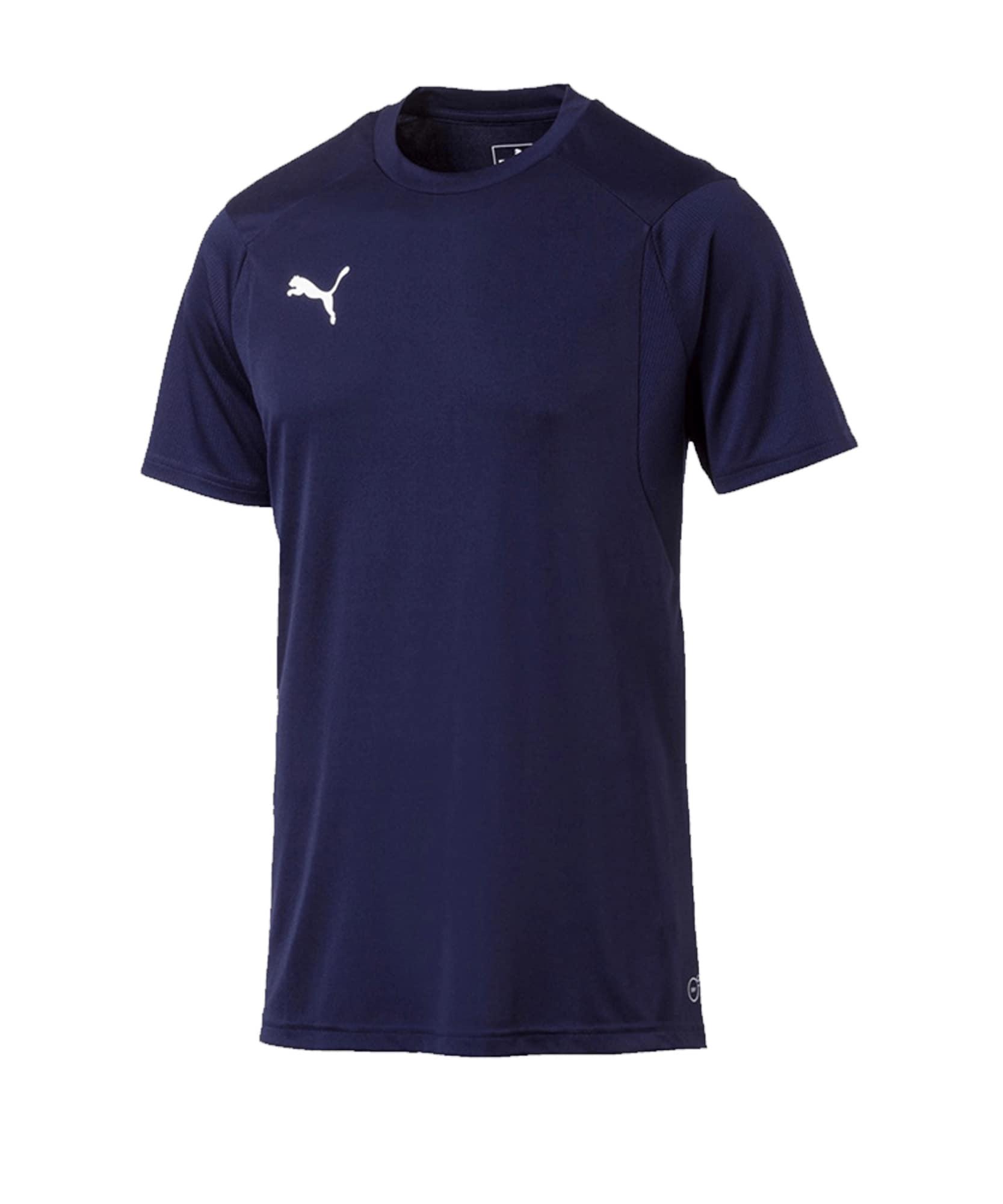 PUMA Sportiniai marškinėliai tamsiai mėlyna / balta