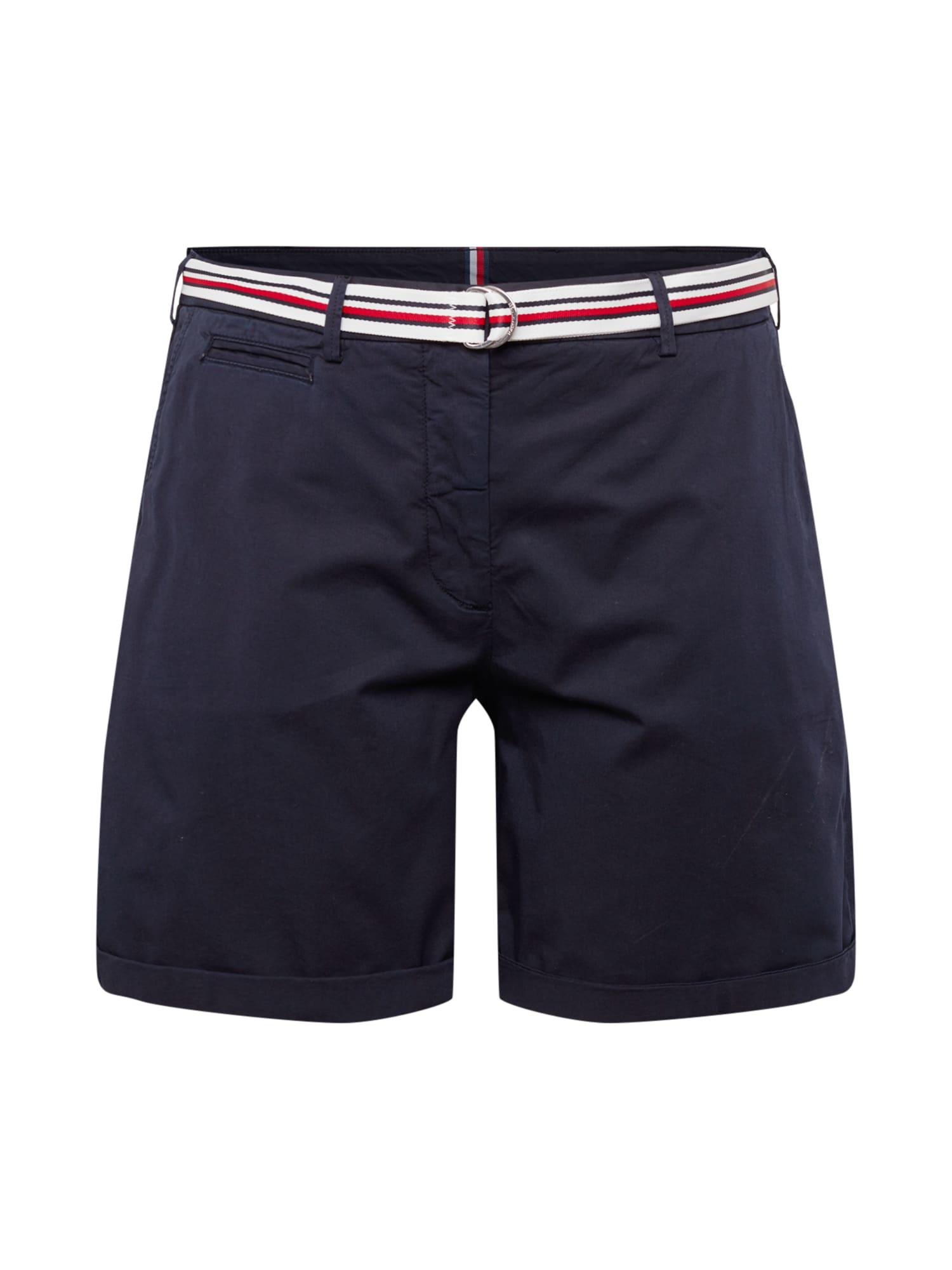 "Tommy Hilfiger Curve ""Chino"" stiliaus kelnės tamsiai mėlyna / balta / raudona"