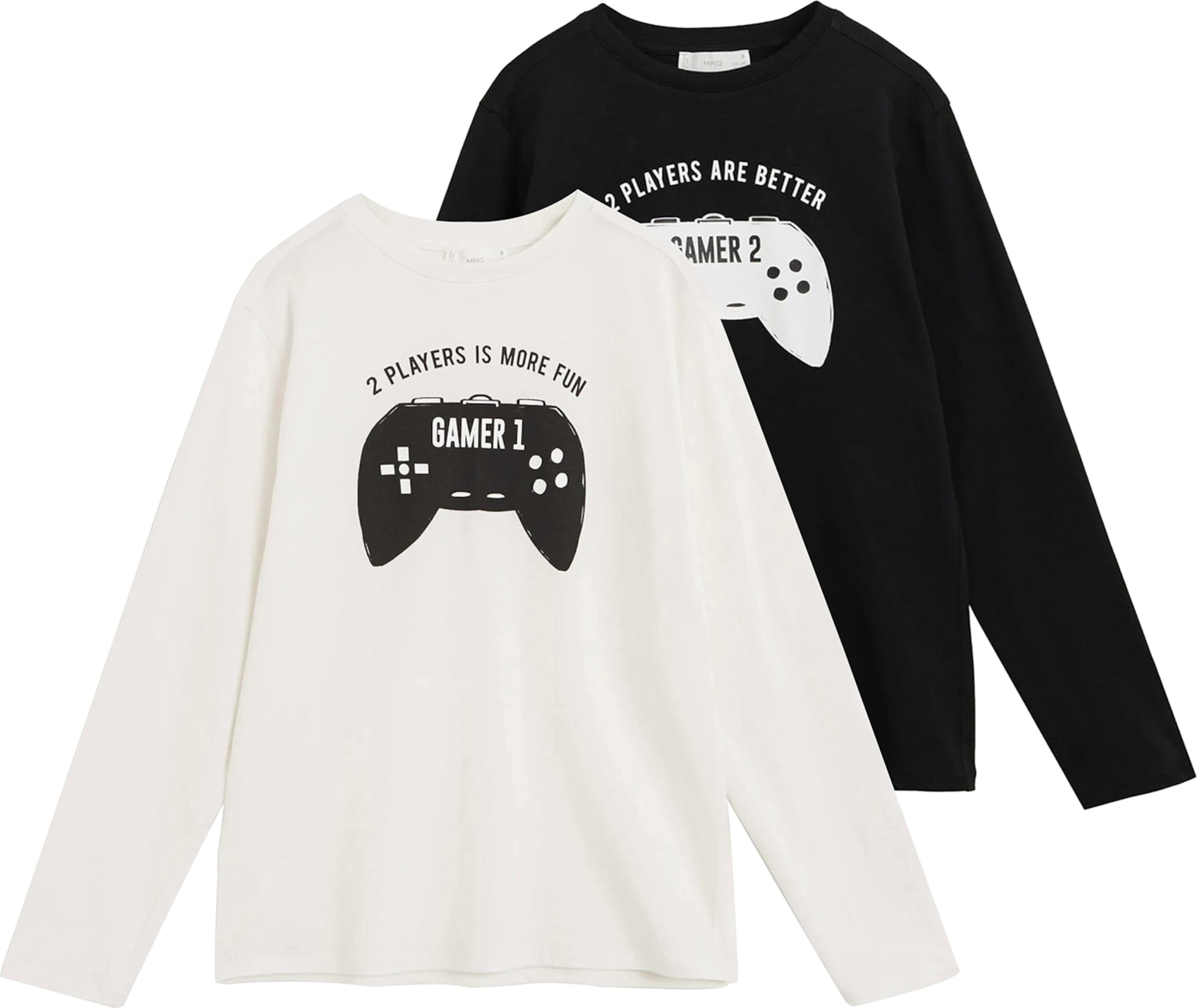MANGO KIDS Tričko 'Gamer 1'  černá / bílá