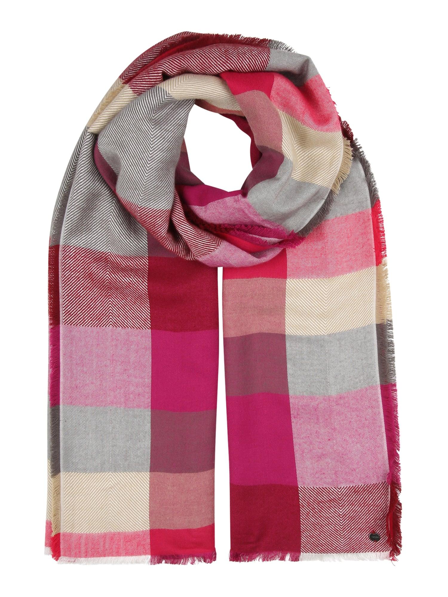 ESPRIT Šalikas tamsiai rožinė / smėlio / avietinė / pilka