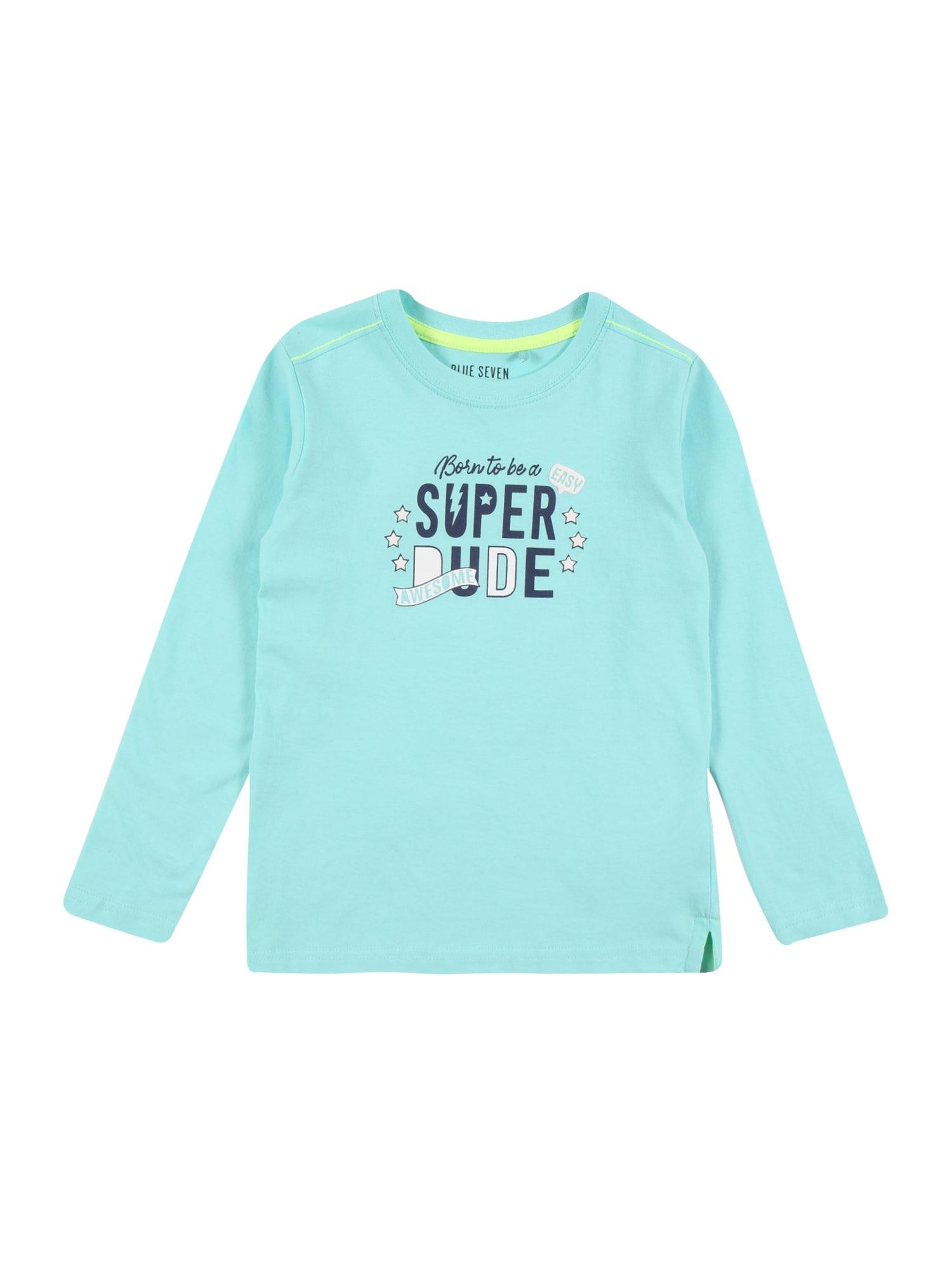 BLUE SEVEN Marškinėliai turkio spalva / balta / tamsiai mėlyna