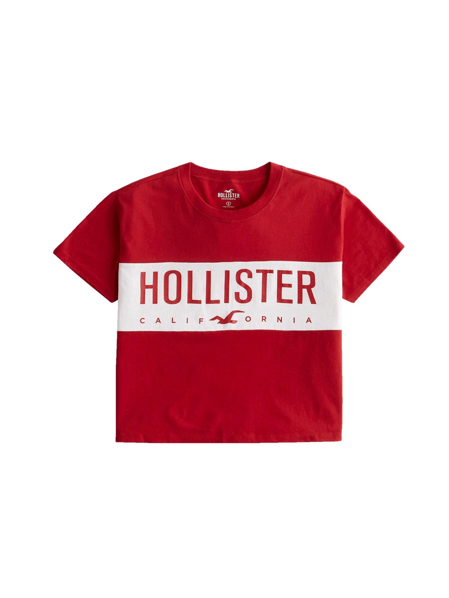 HOLLISTER Marškinėliai raudona / balta