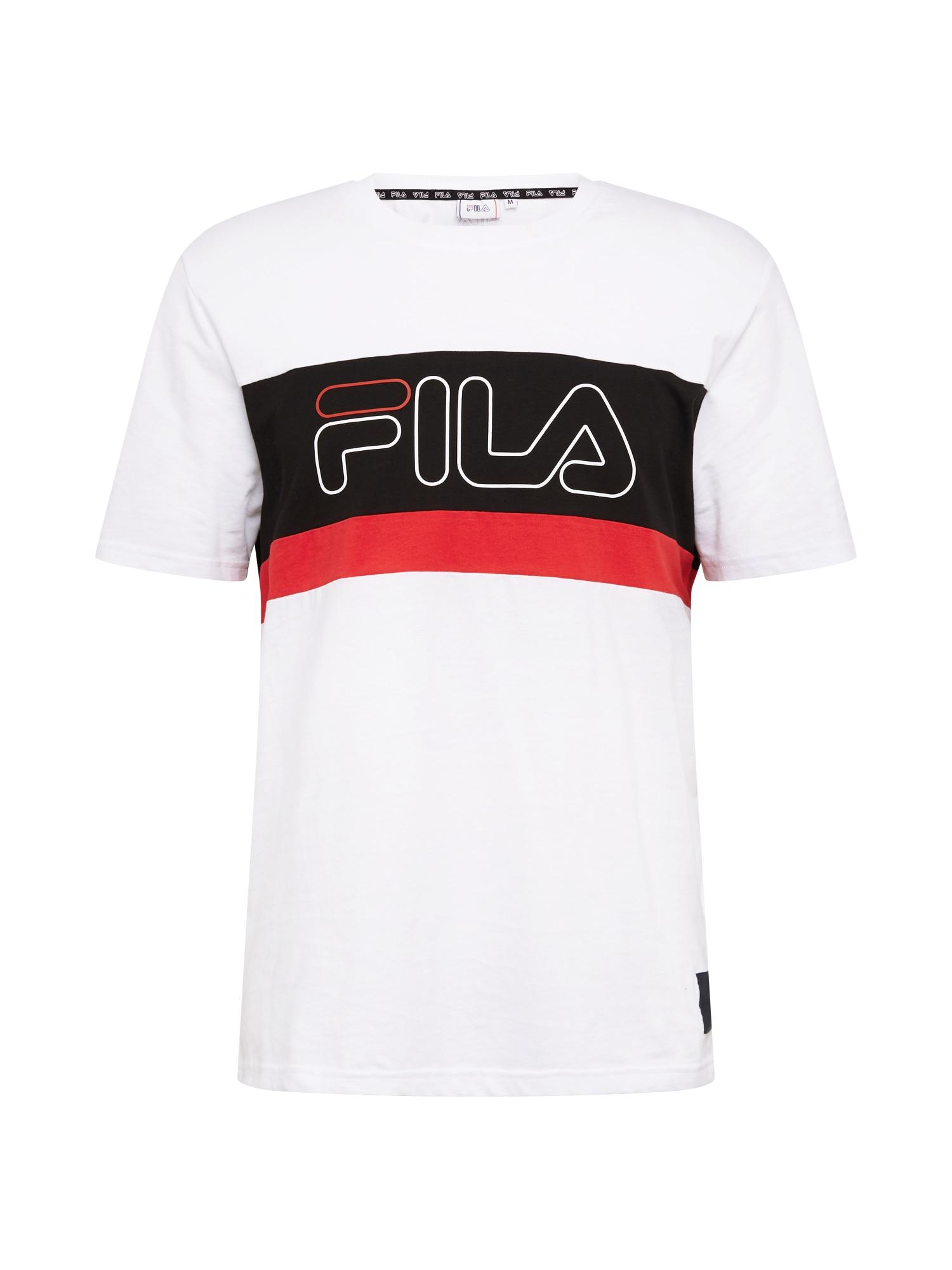 FILA Funkční tričko 'LAURENS'  ohnivá červená / bílá / černá