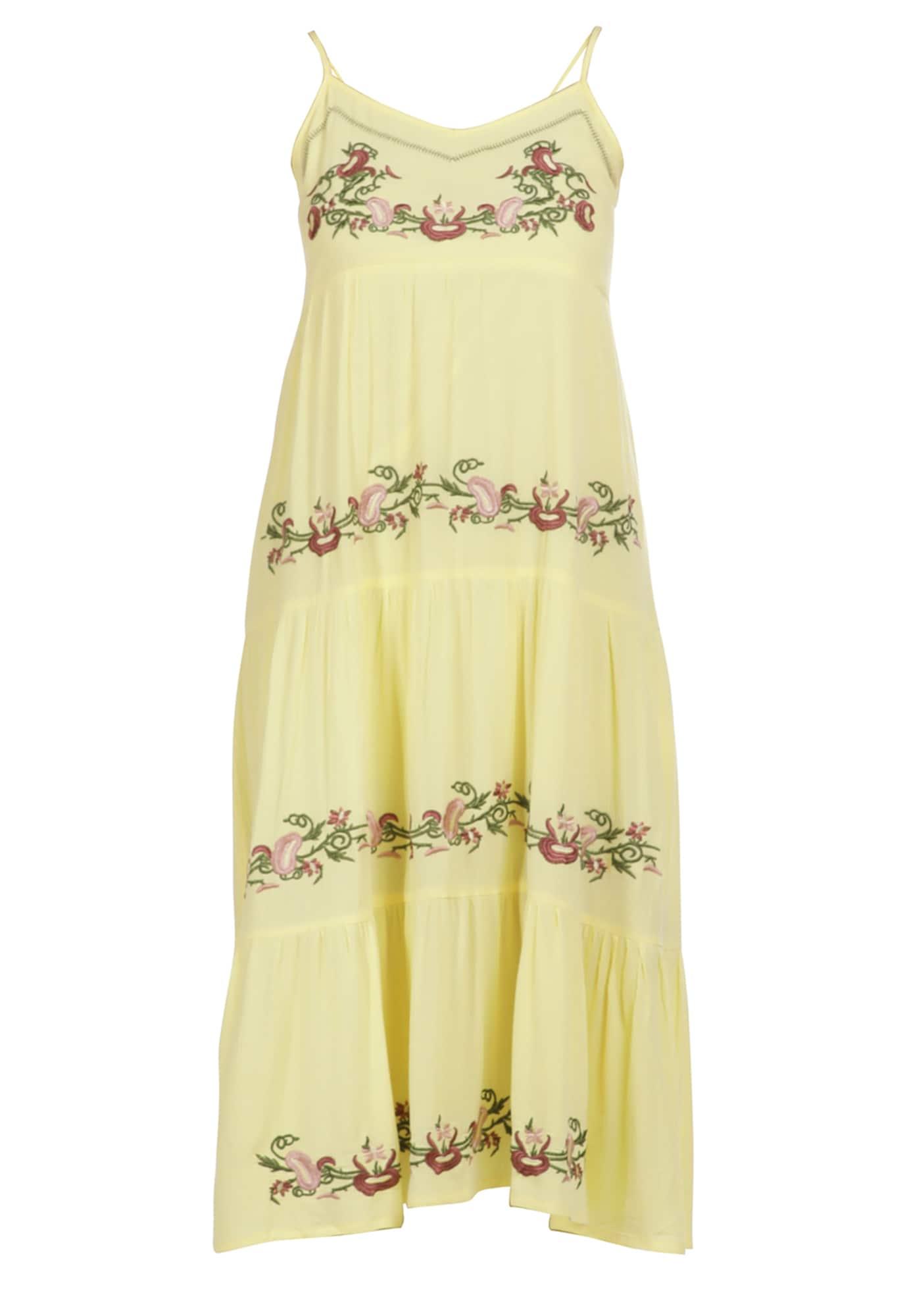 usha FESTIVAL Vasarinė suknelė šviesiai geltona / omarų spalva / žolės žalia / ryškiai rožinė spalva