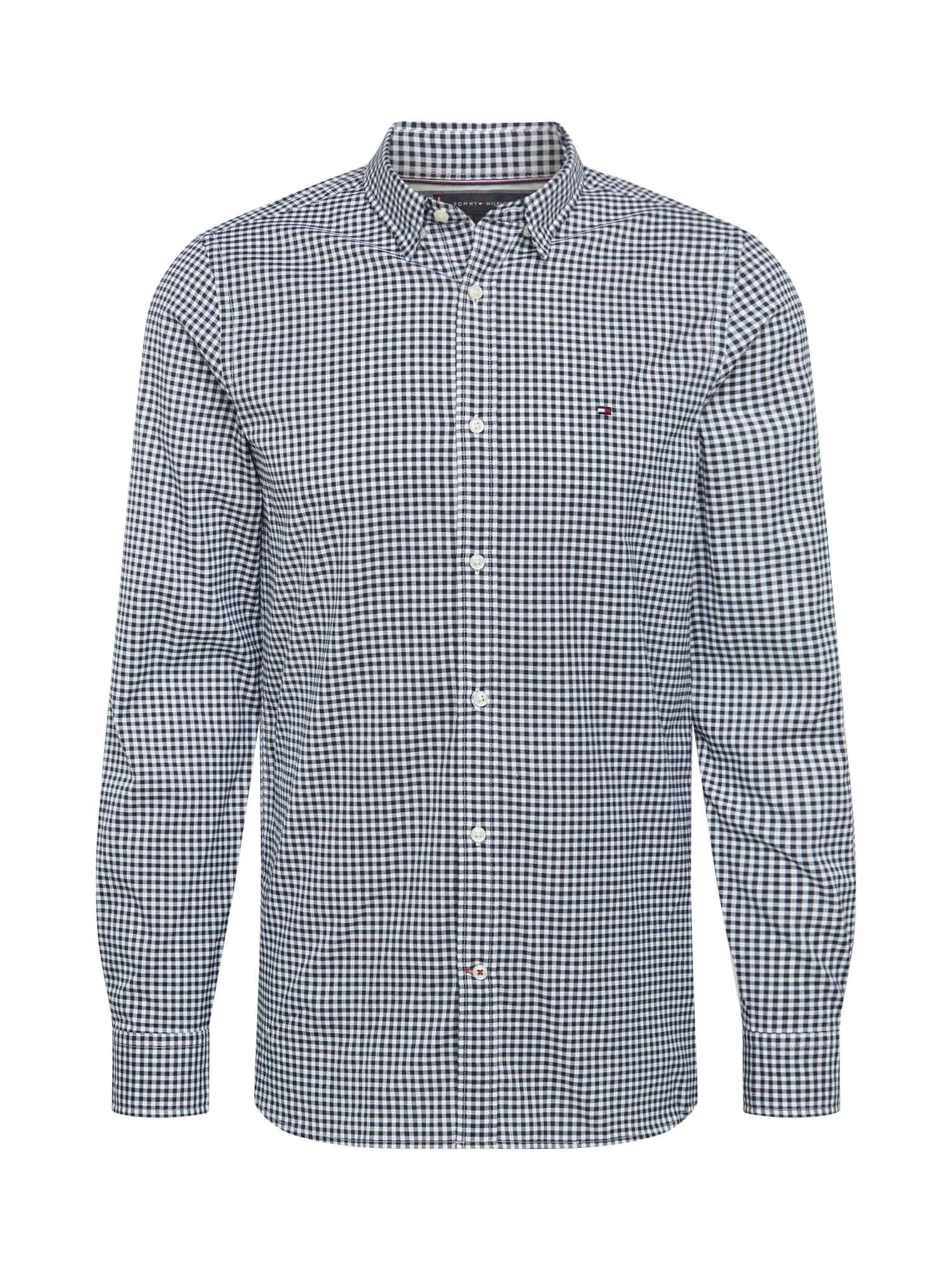 TOMMY HILFIGER Marškiniai tamsiai mėlyna / balta